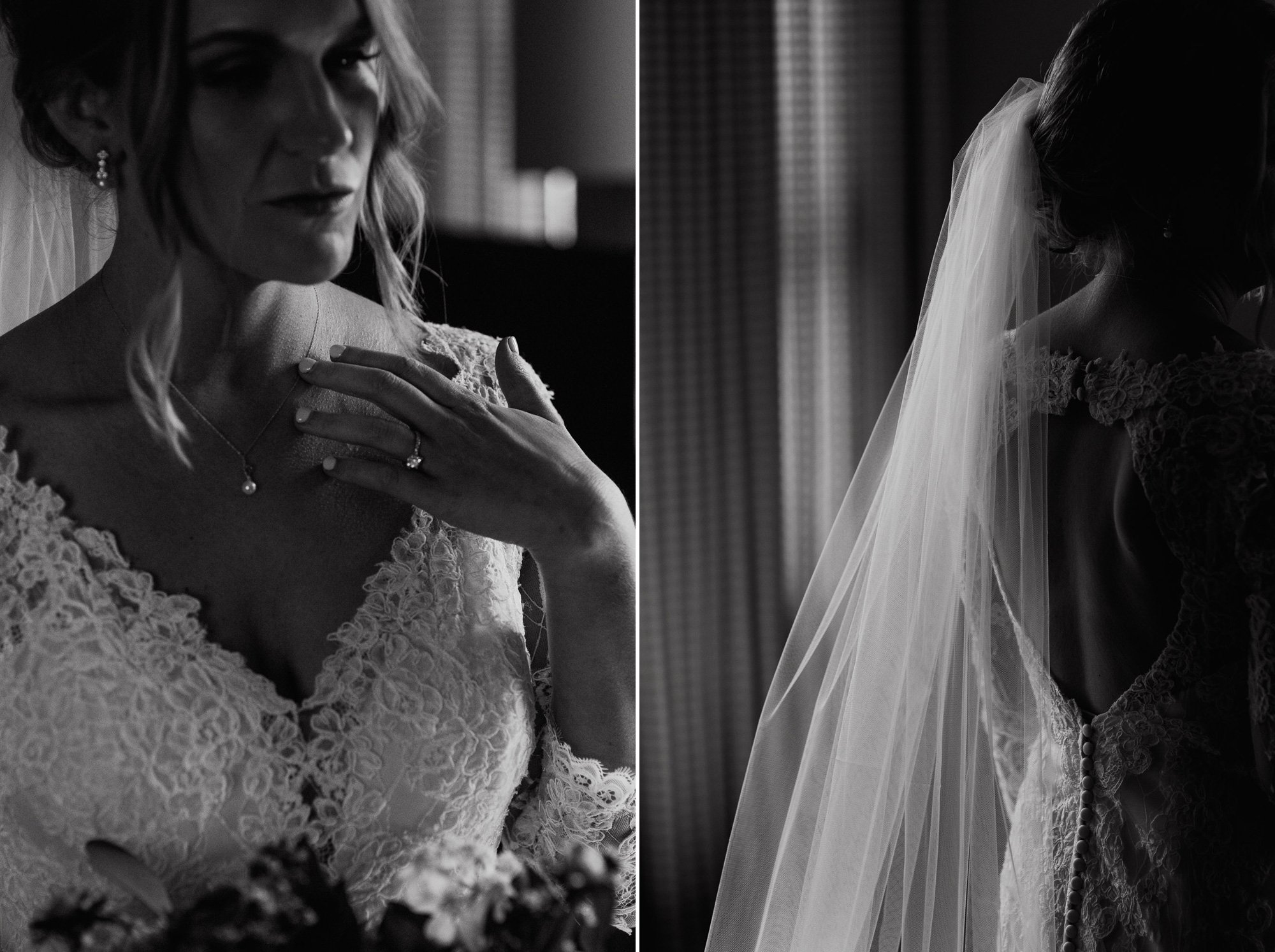 austin bride getting dressed in black and white, dark and moody austin wedding photography, black and white details of a bride getting dressed, black and white bridal getting ready photos