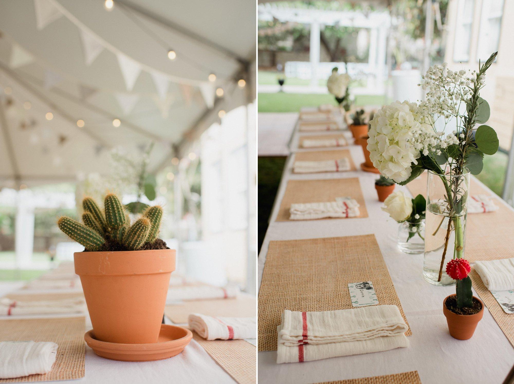 organic, cactus san antonio backyard wedding details