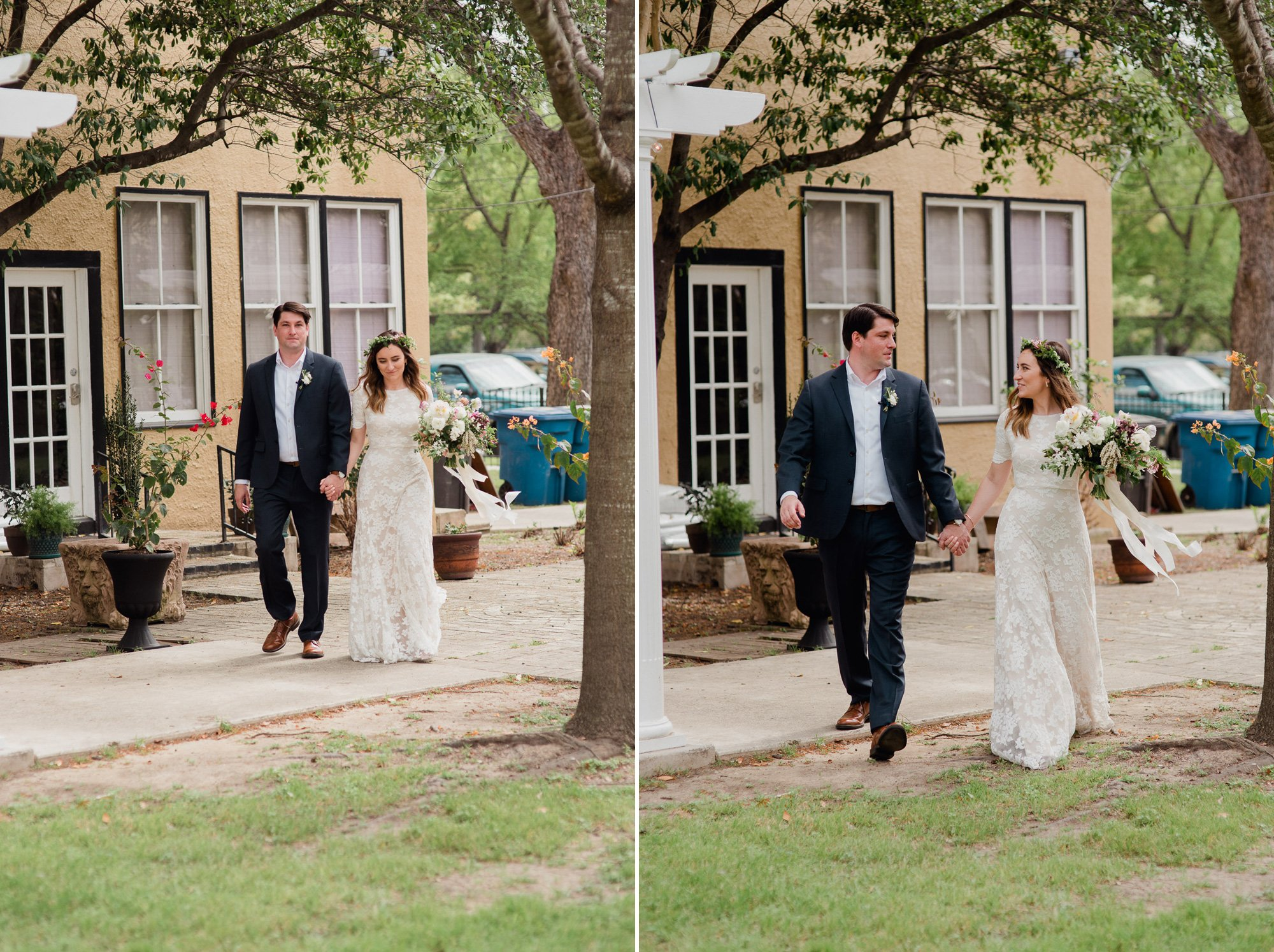 non-traditional wedding photographers in san antonio texas, non traditional wedding with bride and groom walking down the aisle together