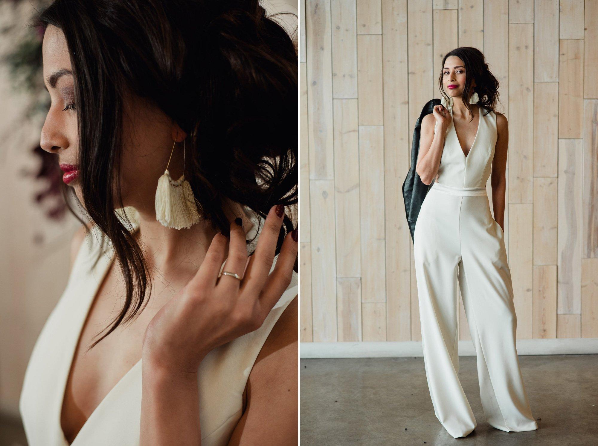 bridal jumpsuit with fringe earrings, alternative bridal looks, alternative wedding styled shoot in austin, peached social house bridal portraits, peached social house styled shoot