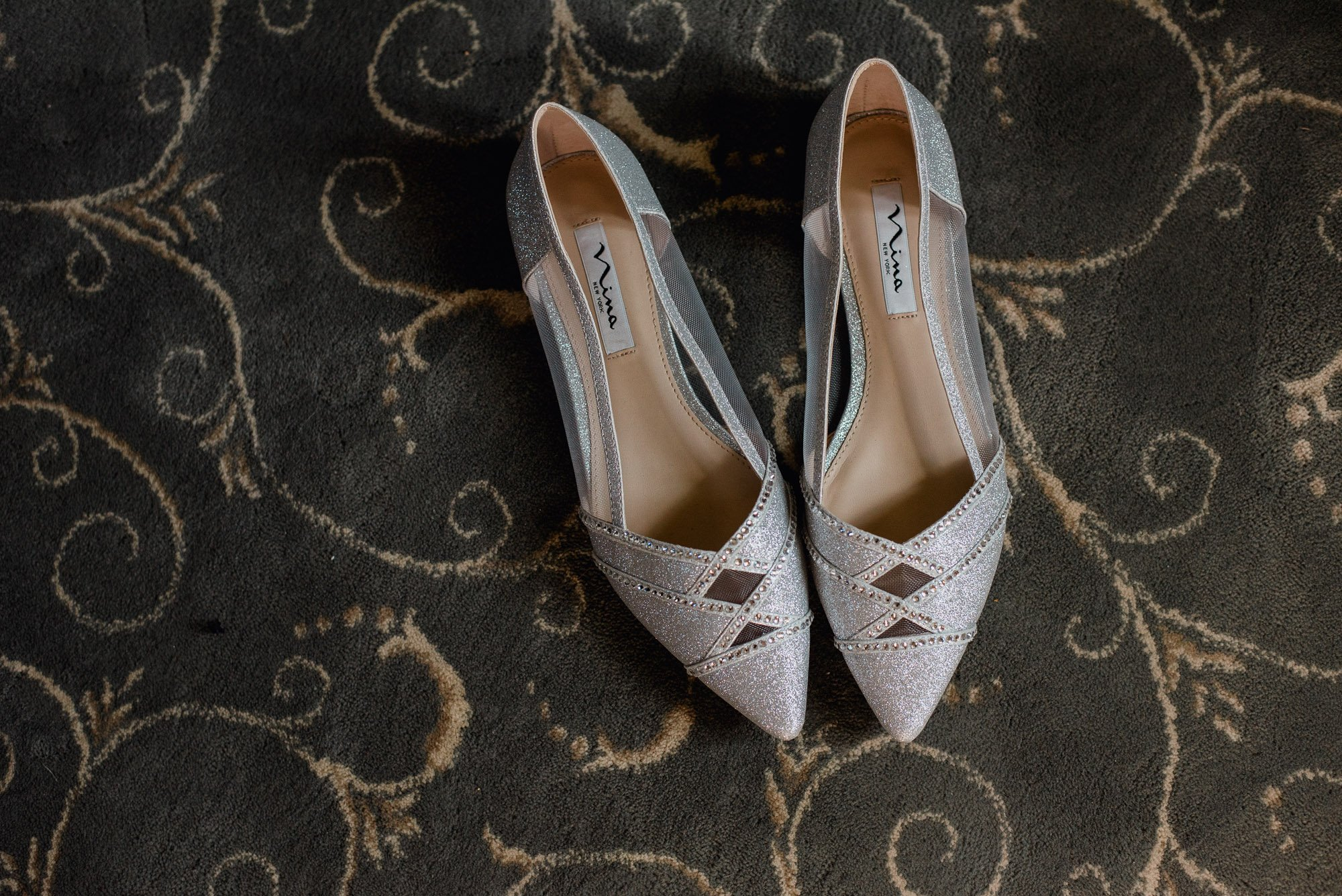 silver bridal shoes at round top wedding, silver nina wedding shoes, wedding detail photographs