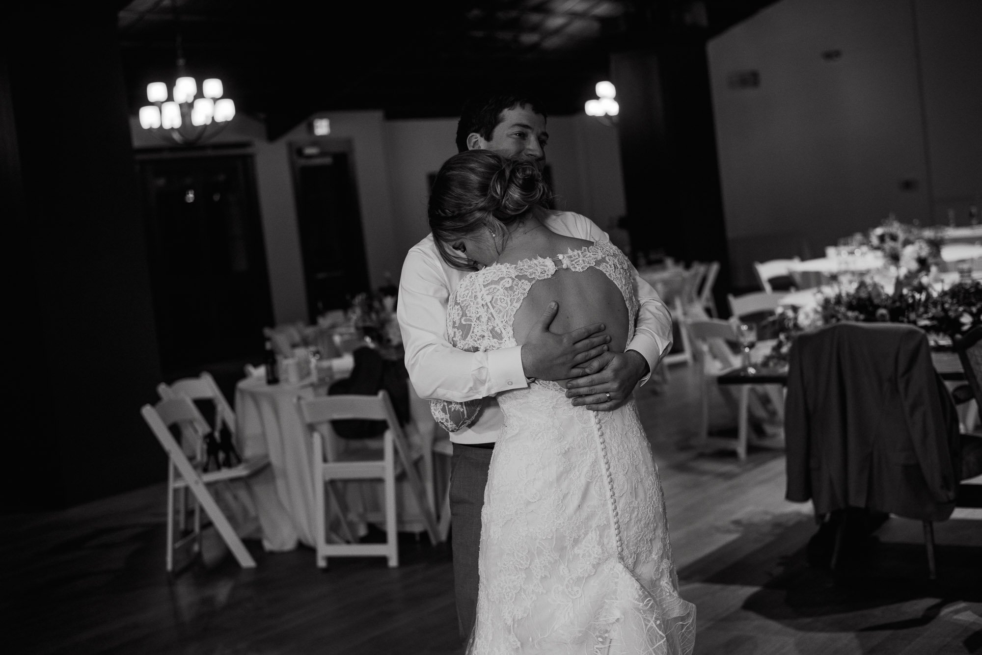 black and white photo of the bride & groom last dance, last dance photos, end of the night at a wedding