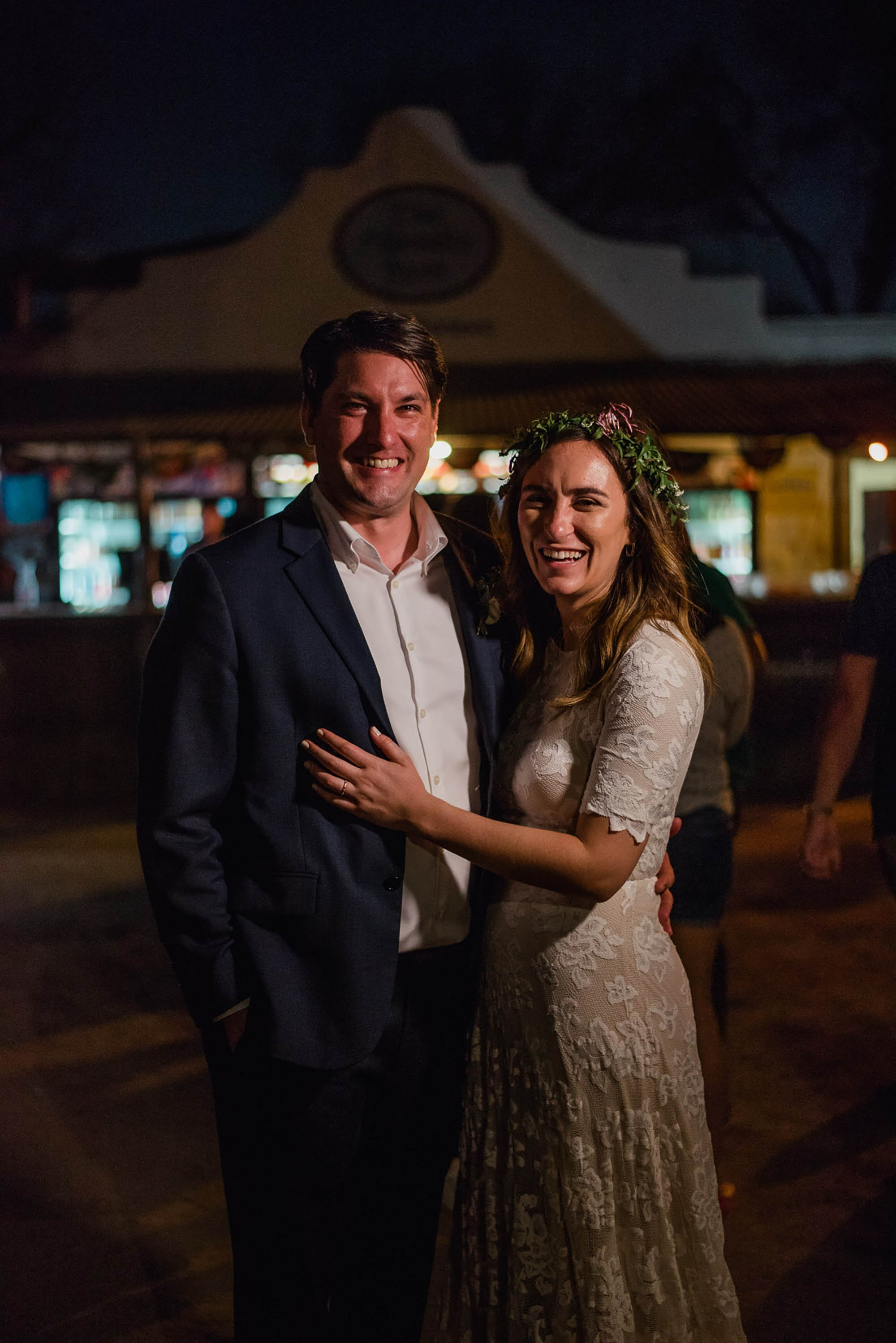 nighttime wedding portrait at a bar, the friendly spot san antonio, wedding photography for alternative couples in san antonio, laid back san antonio wedding photographs