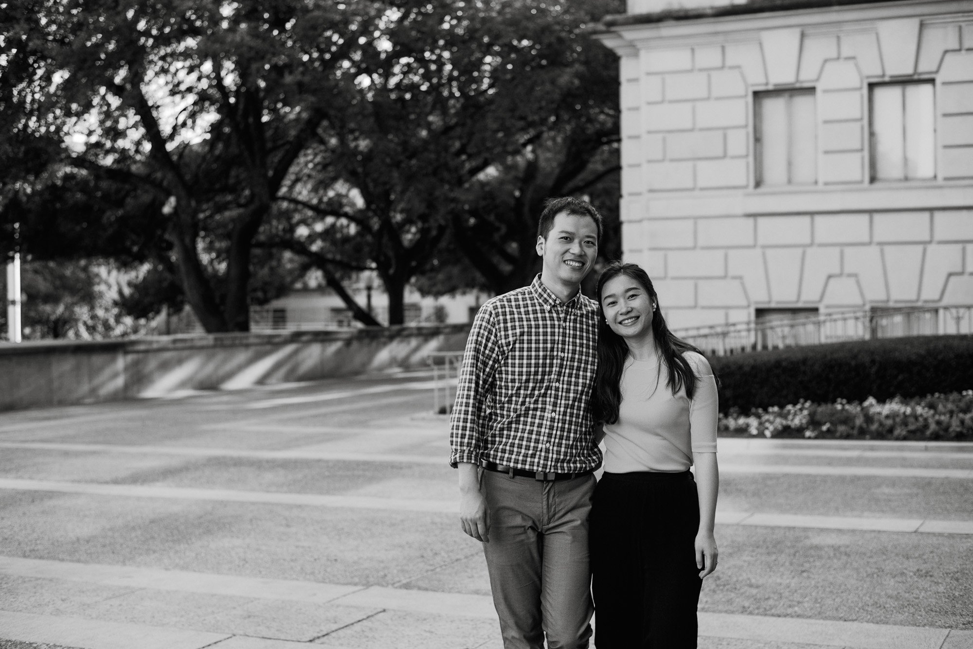 austin engagement session at the university of texas, UT engagement session, austin black and white engagement photos, casual engagement session on the university of texas's campus