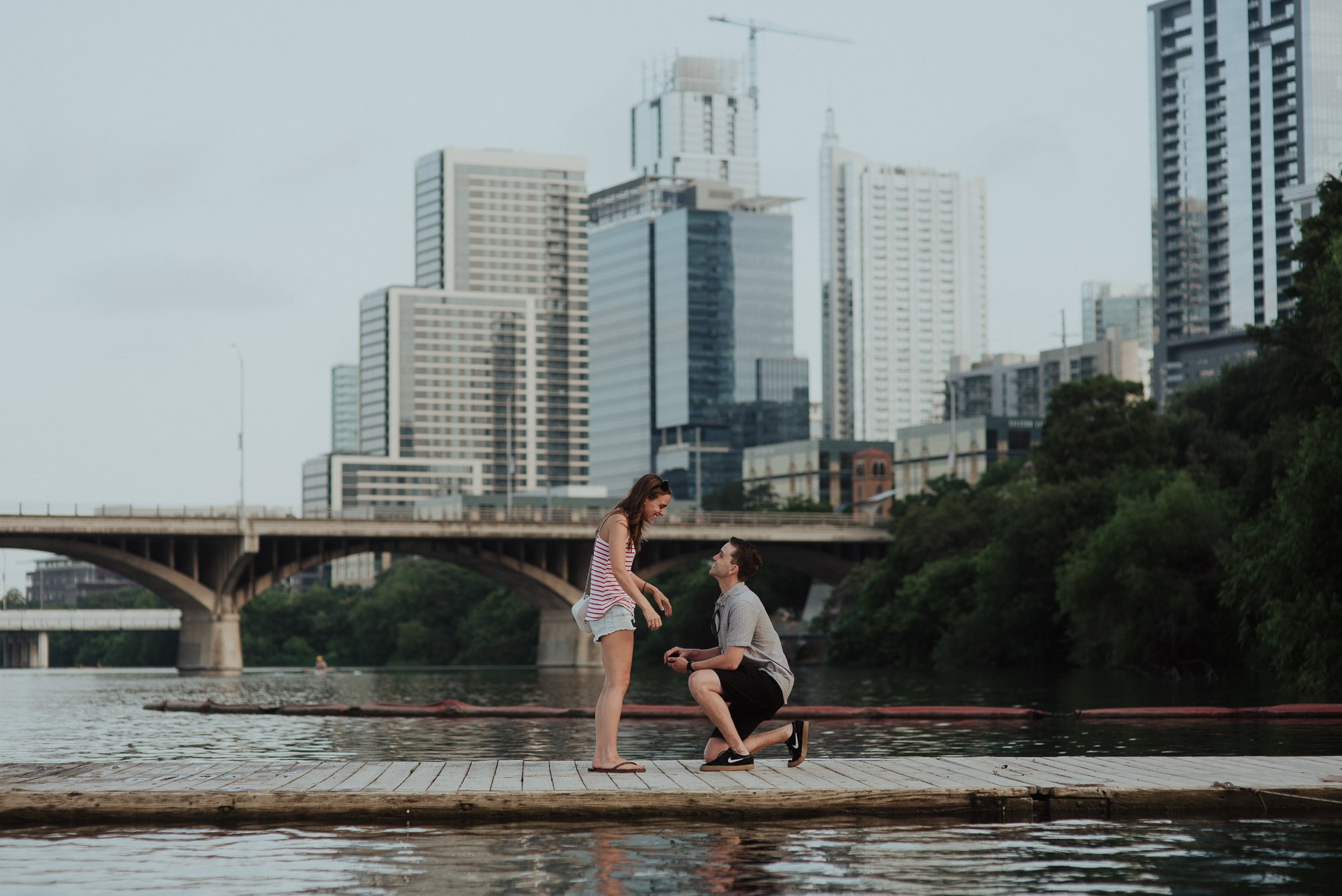 austin proposal downtown on the lake, sunrise proposal in downtown austin, austin surprise proposal photographers