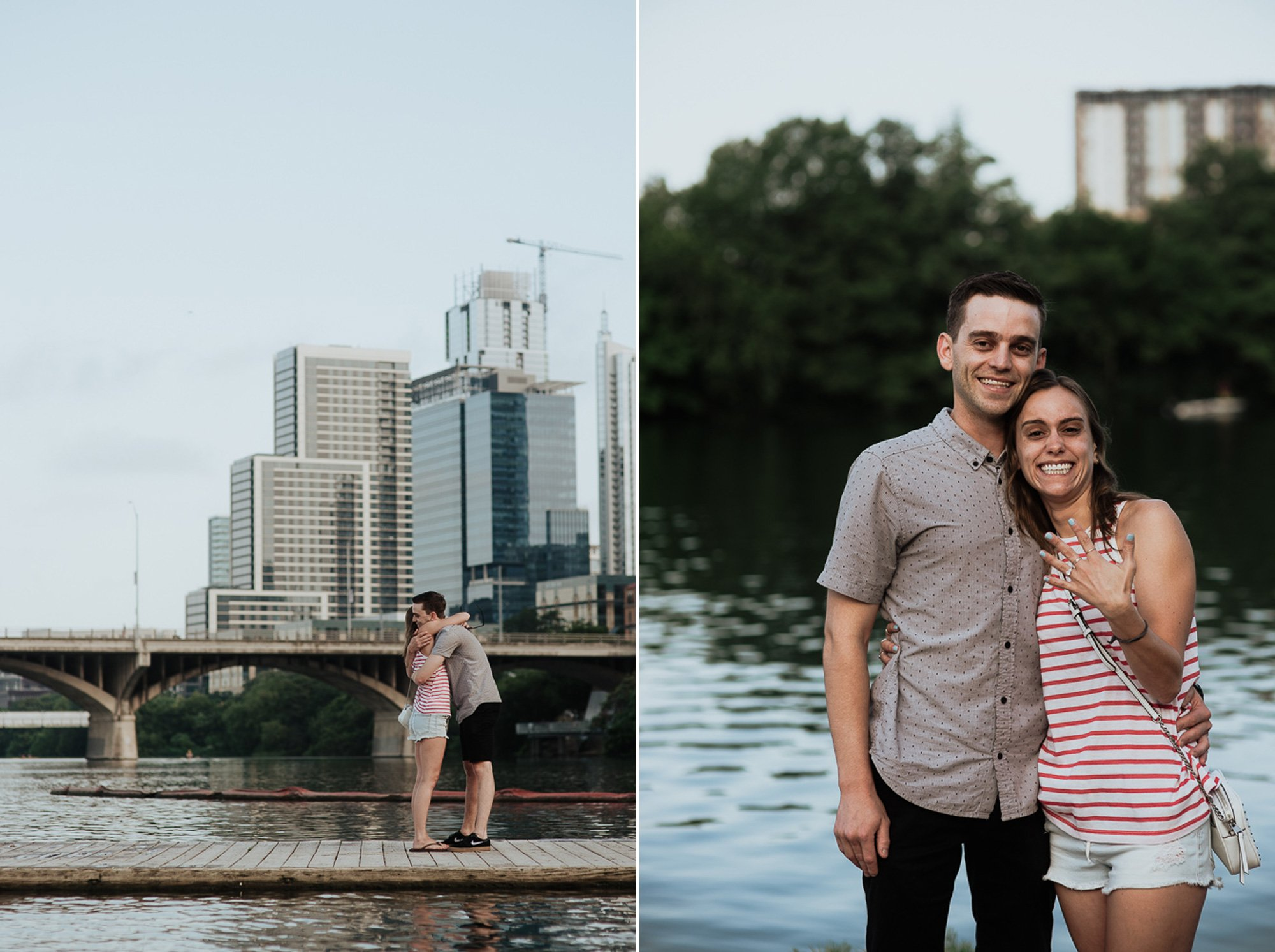 austin proposal with the skyline, cute couple gets engaged in downtown austin at sunrise, destination proposal photographer austin texas, central texas proposal photos