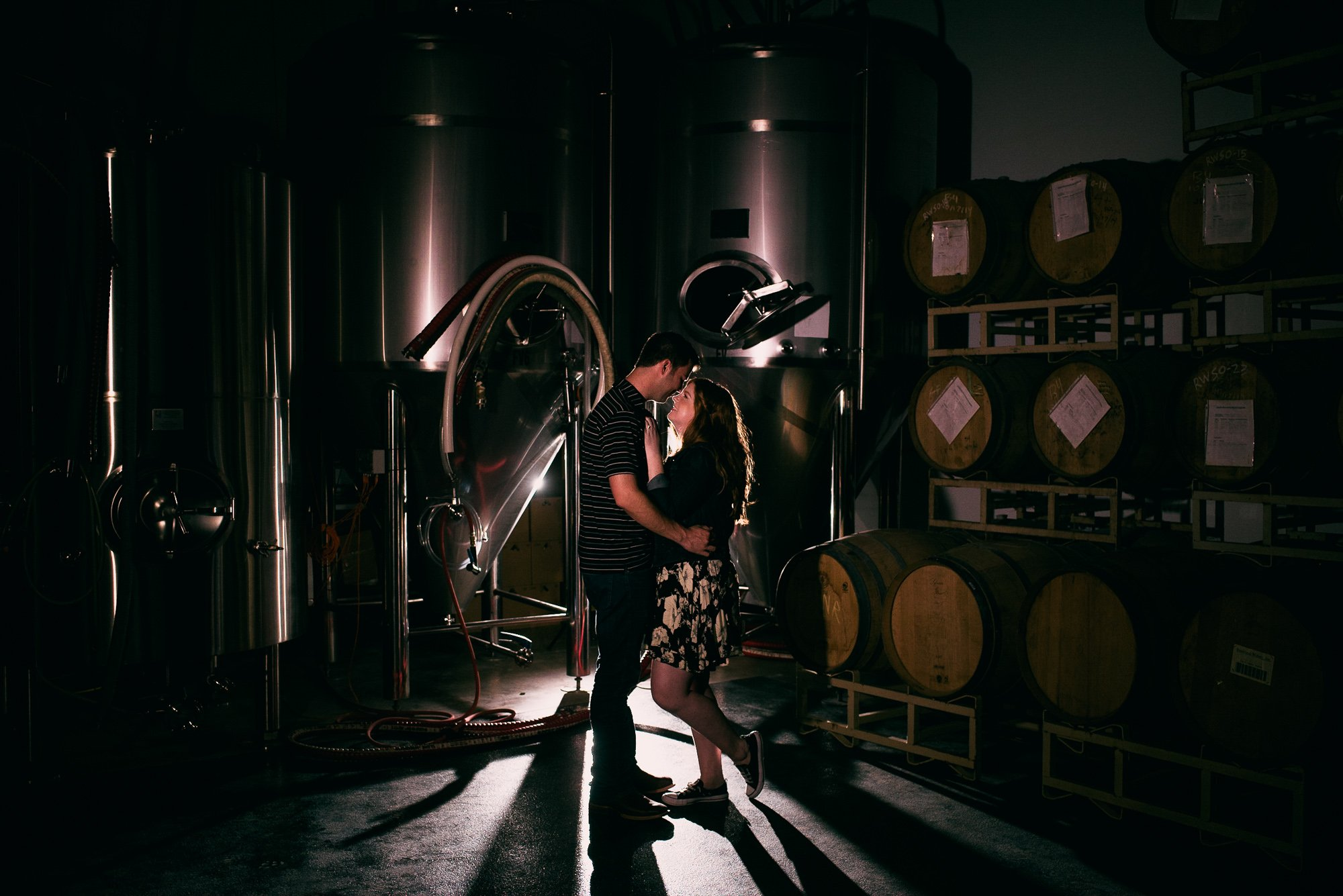 brewery engagement portraits, craft beer engagement photos, austin beerworks photos, creative brewery photography