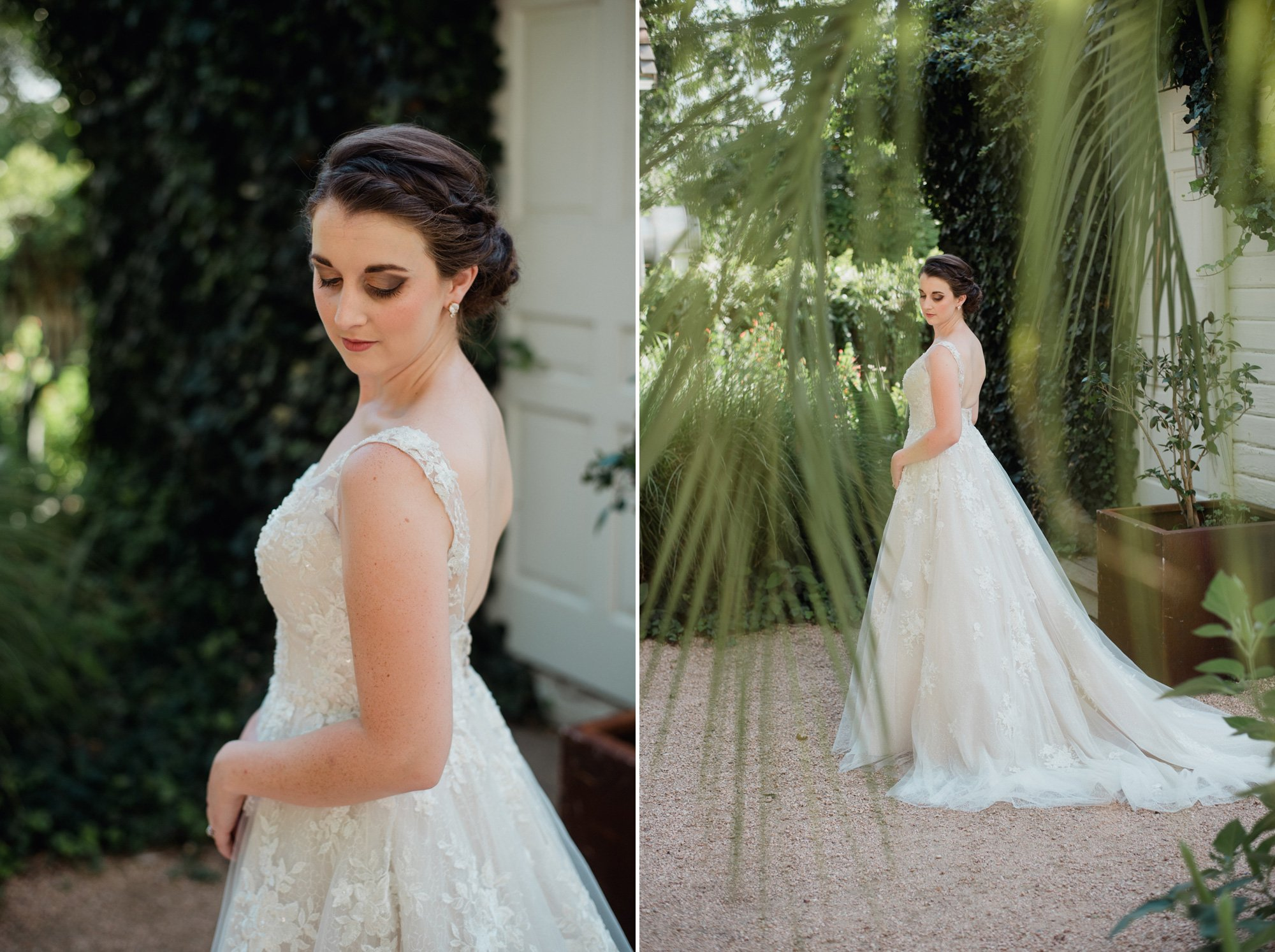soft and classy southern bridal portraits outside the barr mansion guest house