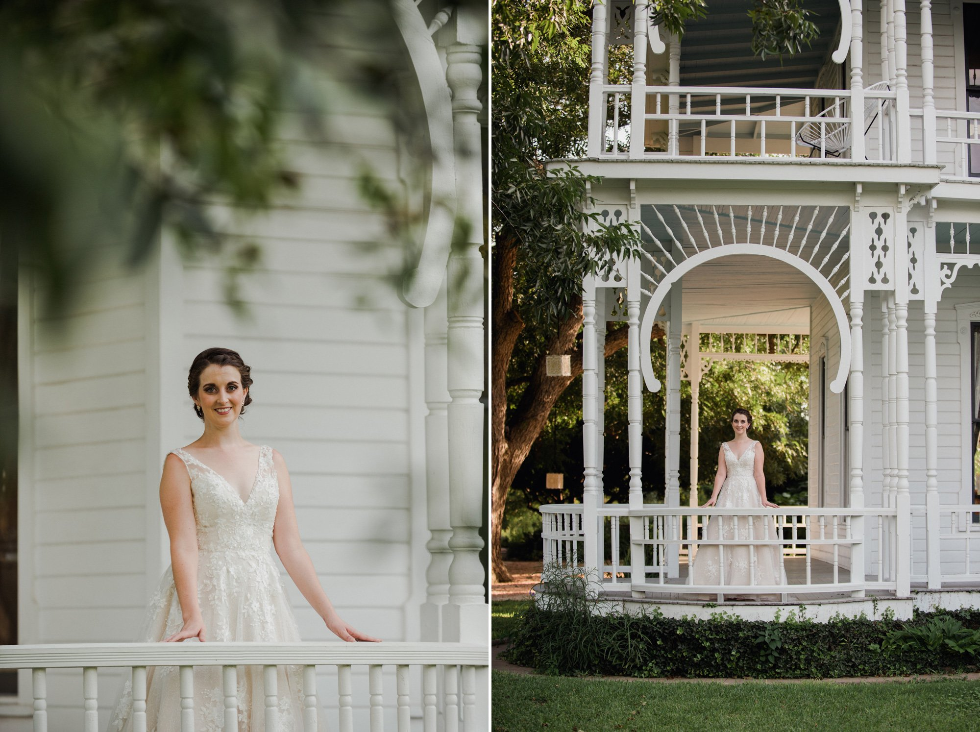 bridal portraits at the barr mansion on the porch during the summer, barr mansion bridal session