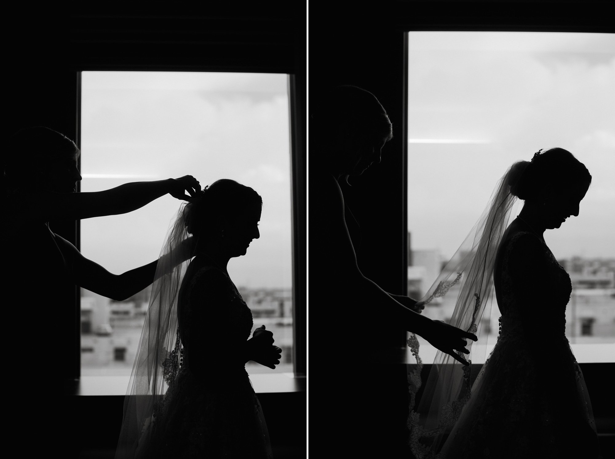 black and white wedding photographs of bride getting ready in front of a window, natural light wedding photography, austin wedding photographer