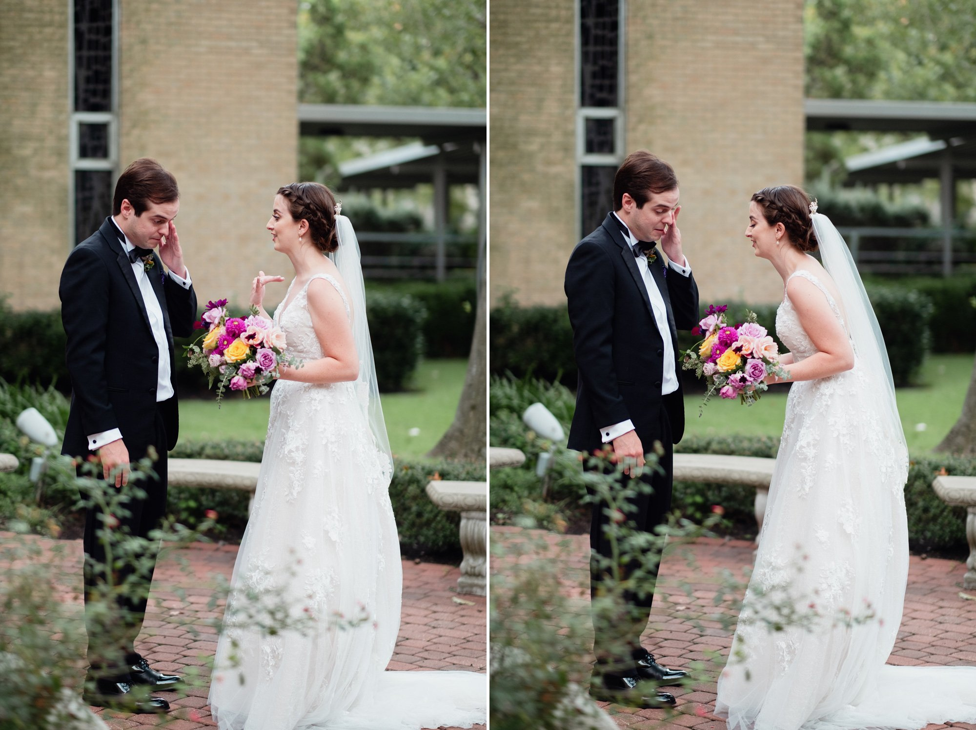 first look photos at an austin wedding, bride and groom tearful reactions during first look at a catholic wedding in austin