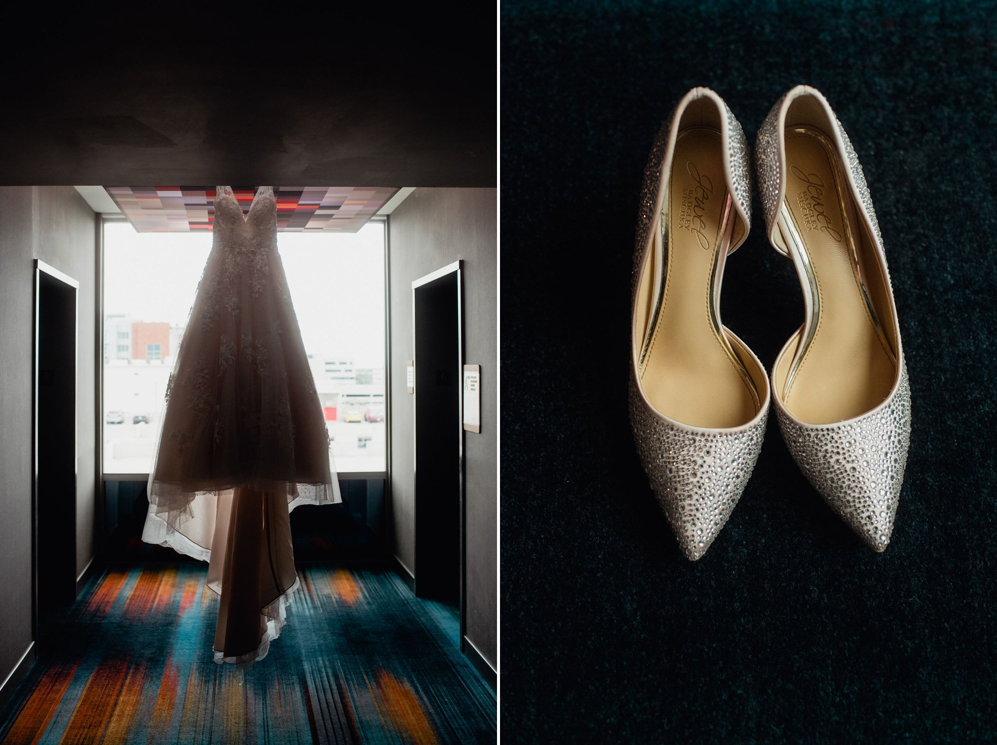 wedding details at a hotel, getting ready detail photos of dress and shoes, creative dress shot in hotel