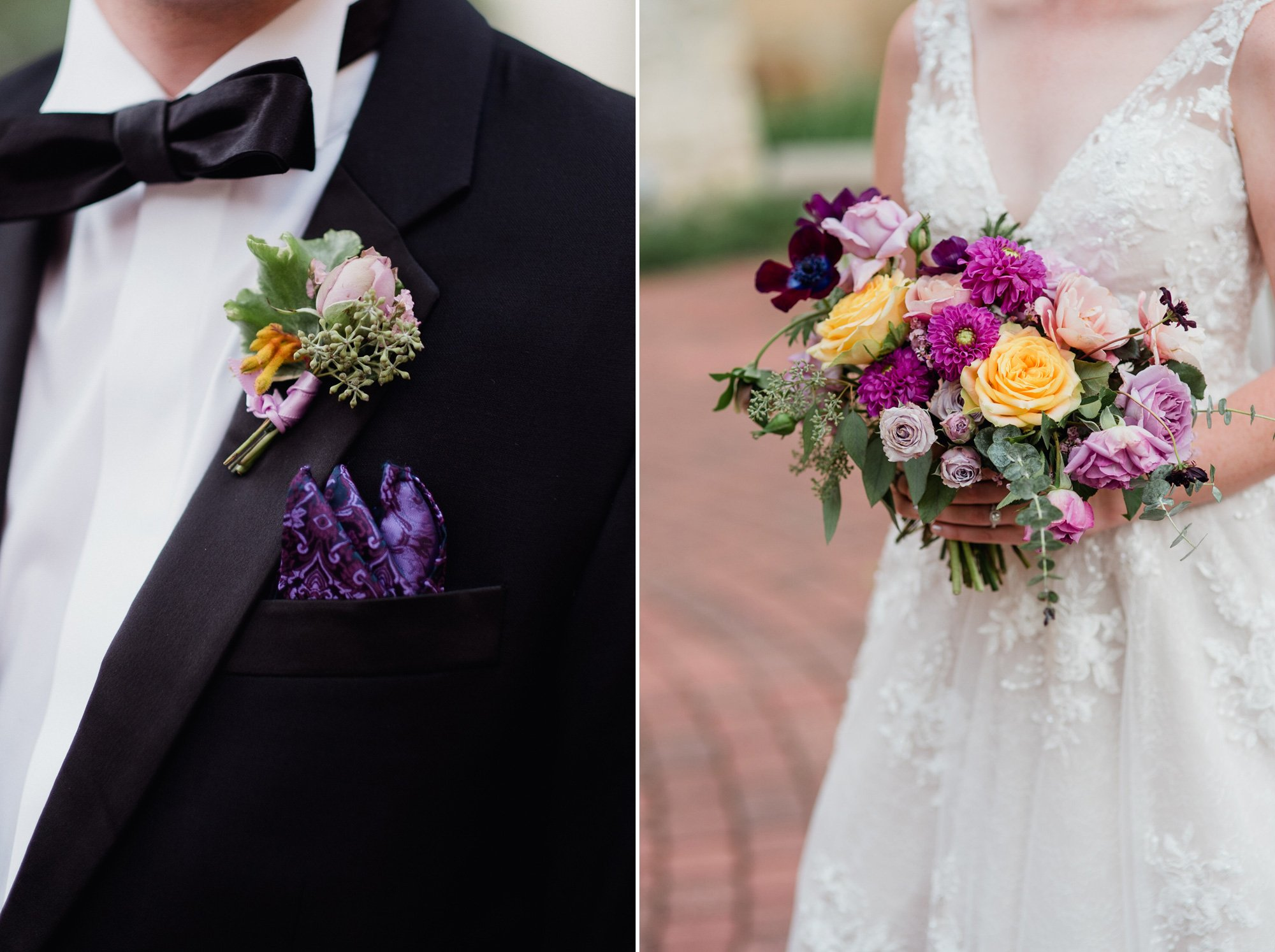 colorful austin wedding at st. louis catholic and peached social house