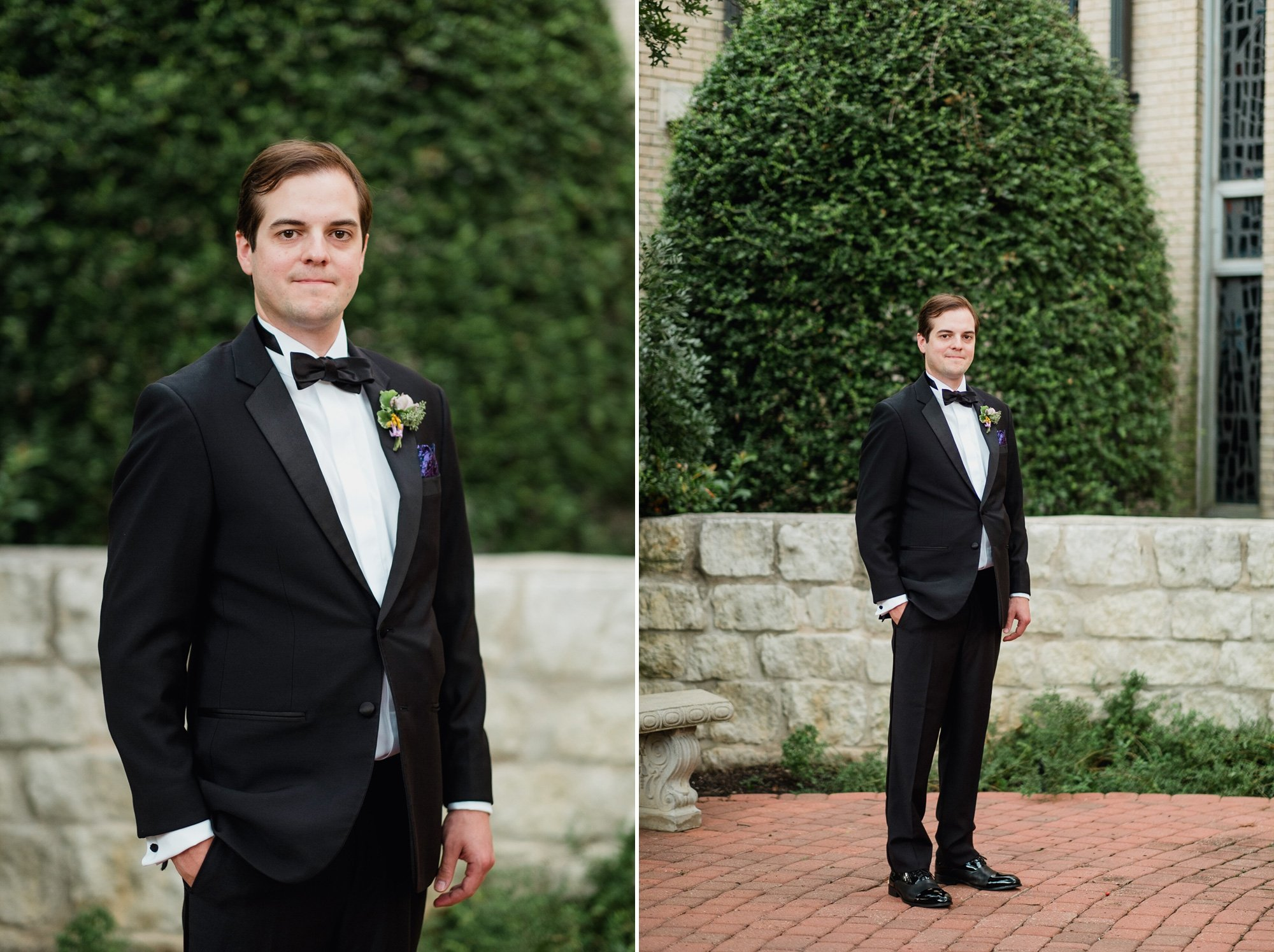 portrait of austin groom in black tux before his wedding ceremony at st. louis king of france, austin wedding portrait photographer, modern austin wedding photography, creative austin wedding photographers