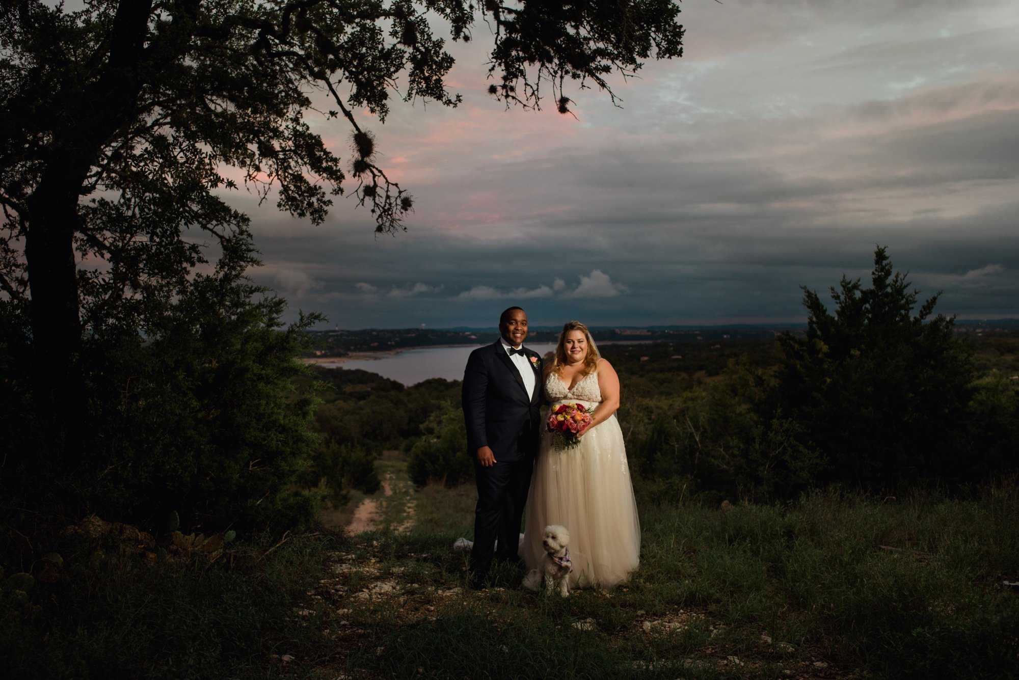flash photography sunset portraits, killer sunset photos in austin, lago vista wedding,