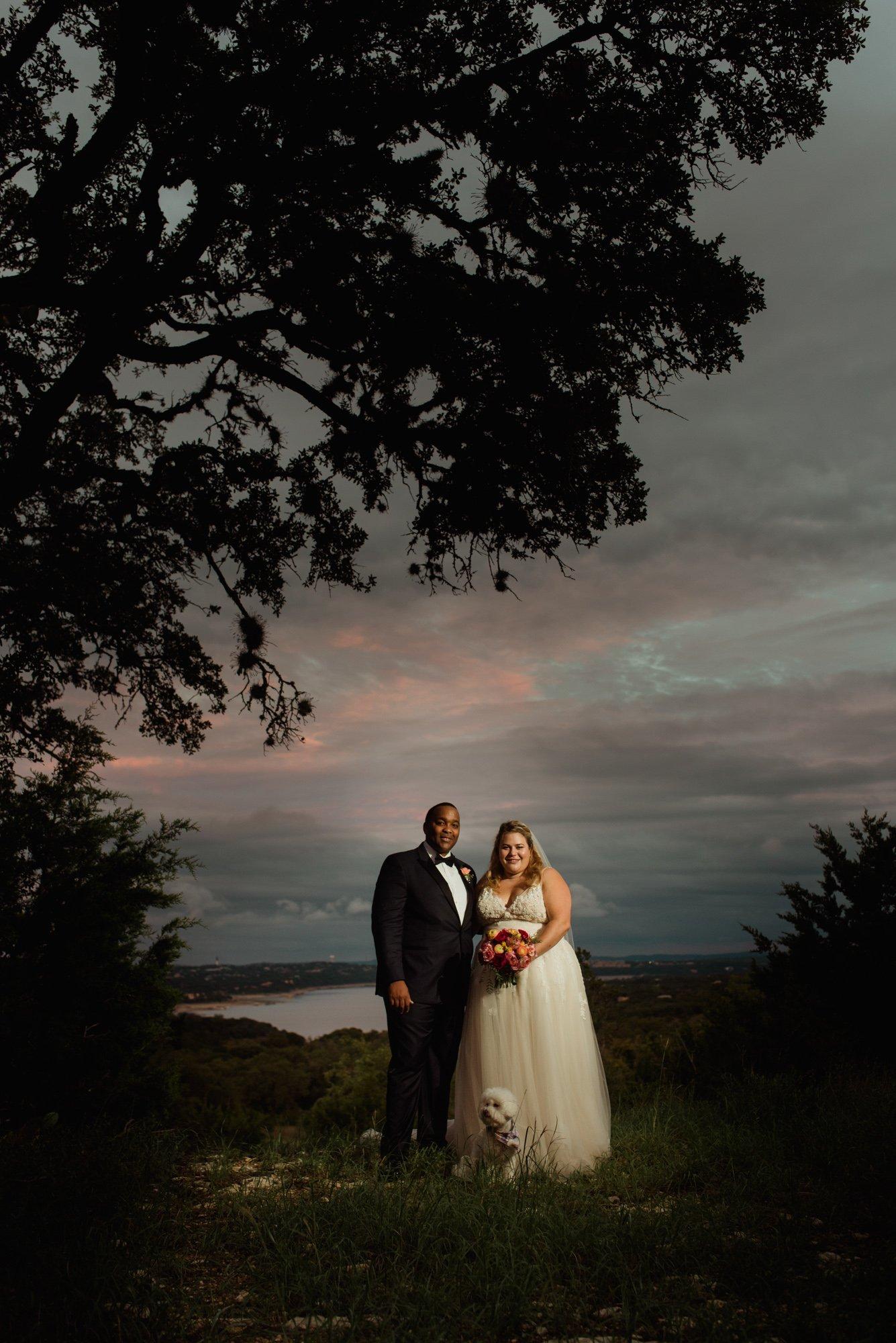 creative, offbeat, austin wedding photographer, off camera lighting portraits, wedding portraits after sunset, fall wedding overlooking lake austin, texas mini wedding photographer