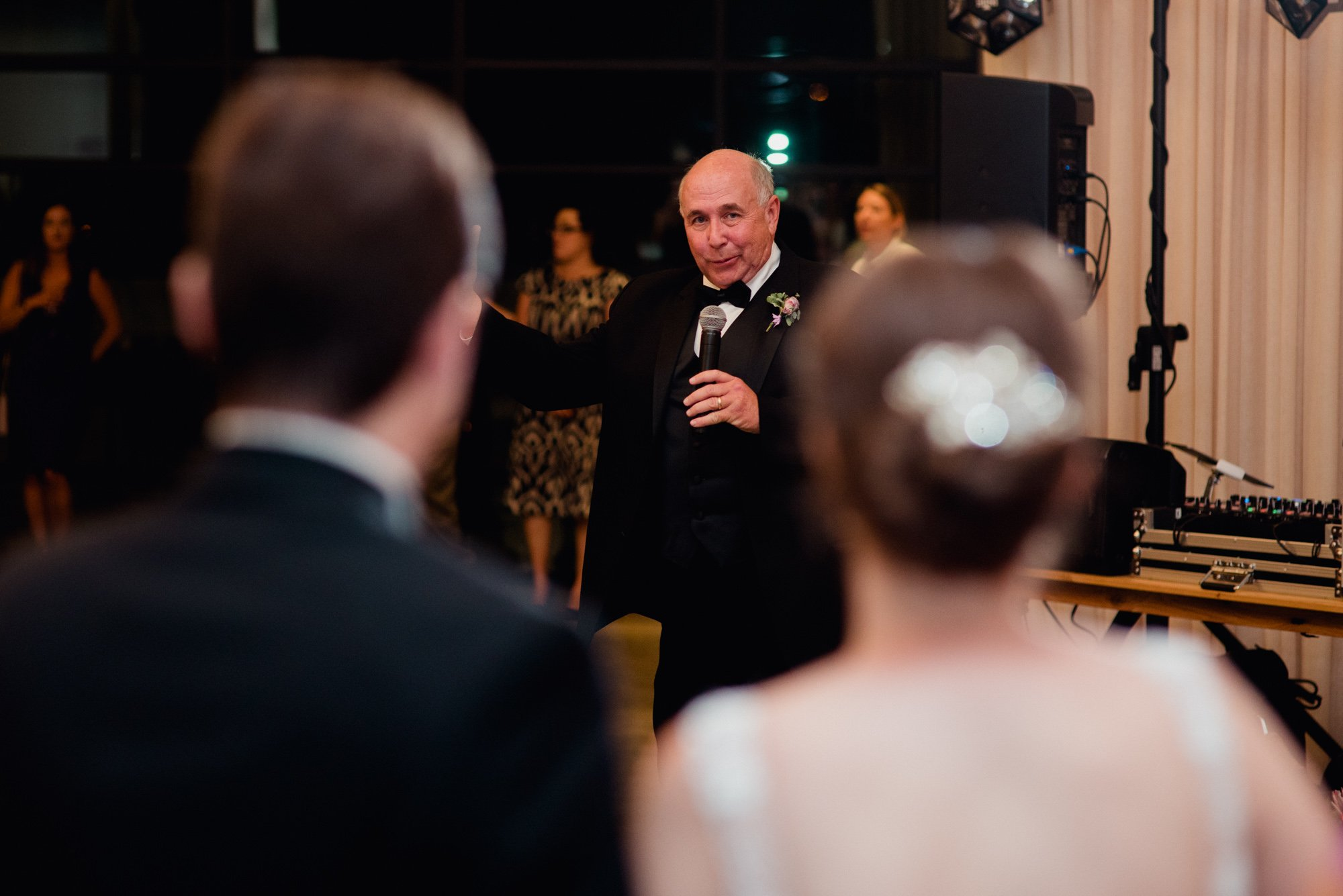 father of the bride toasts a quirky austin wedding