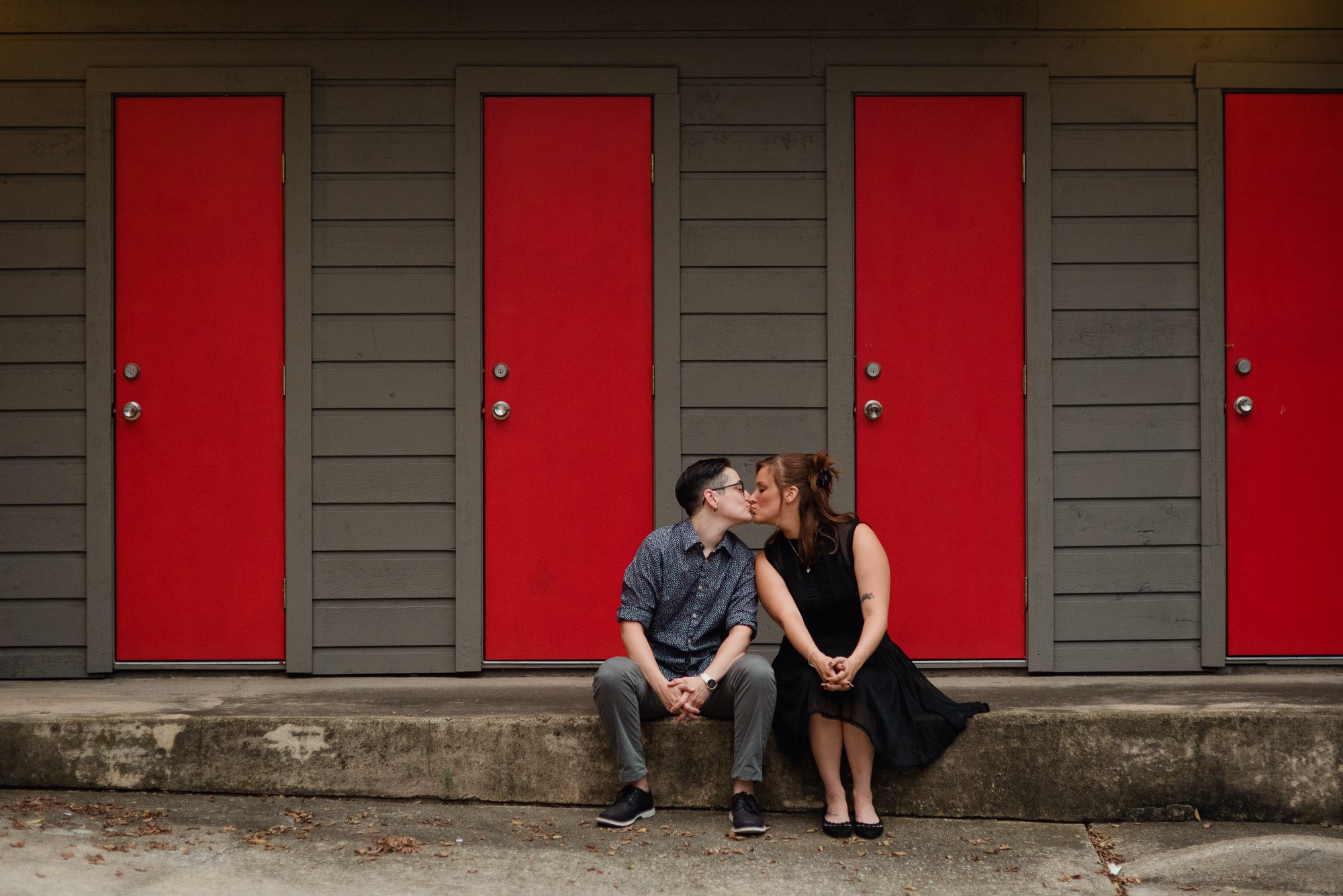 unique same sex couples session, fun and colorful urban engagement session