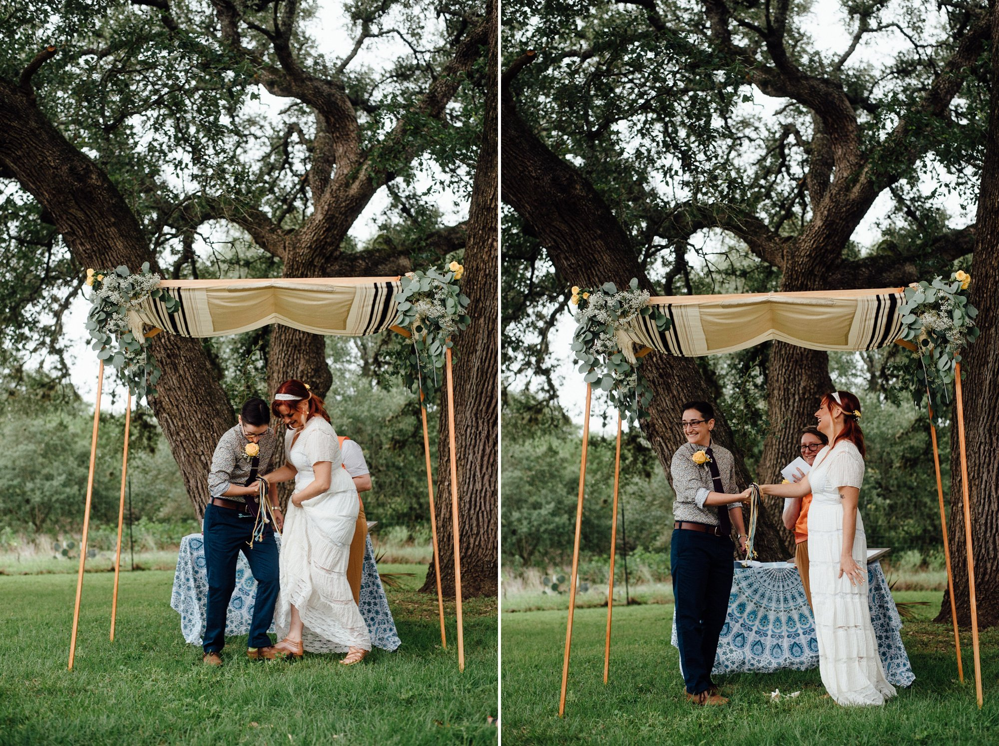 a same sex jewish couple smashes the glass together at their backyard outdoor wedding under the big oak trees at the Plant at Kyle