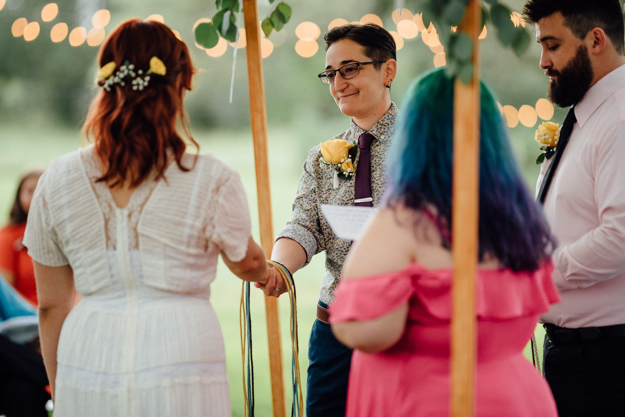 jewish wedding with handfasting ceremony, fall wedding at the plant at kyle