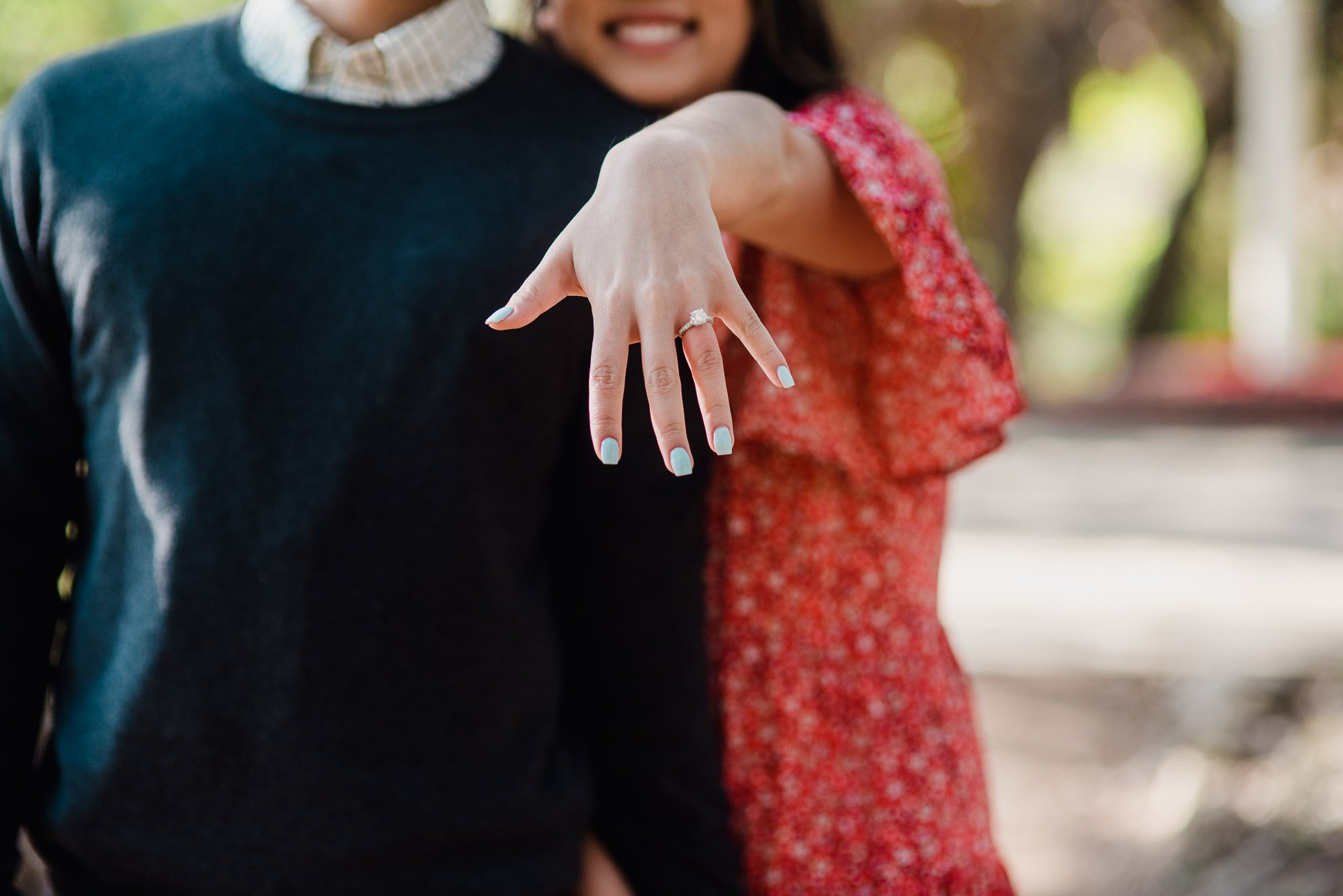 showing off that new ring bling after an early morning proposal in austin texas, lauren b jewelry ring