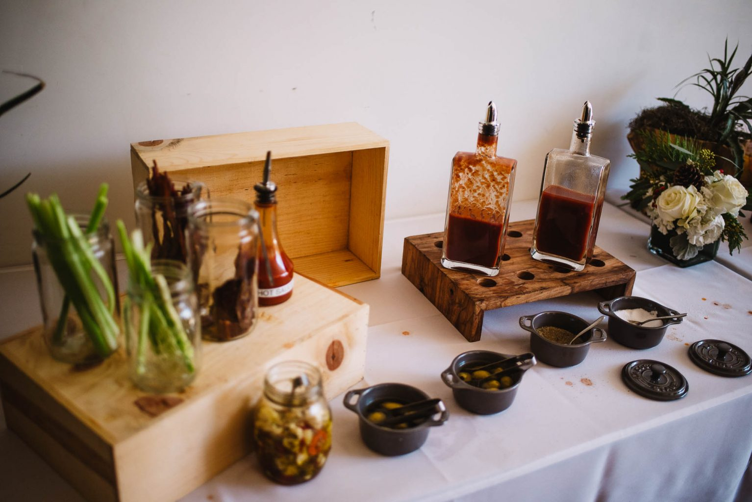 bloody mary bar at a brunch wedding, brunch wedding ideas, south congress hotel wedding, brunch weddings in austin