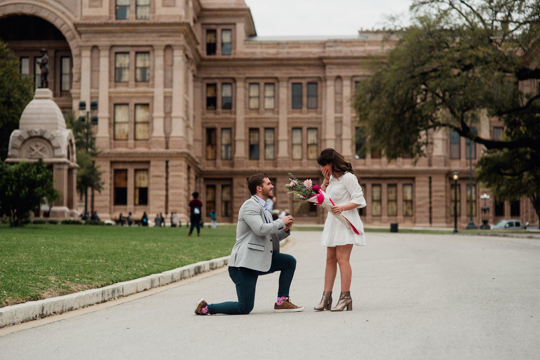 Downtown Austin proposal photos, surprise proposal photographers in austin, state capitol proposal, destination proposal locations in austin texas