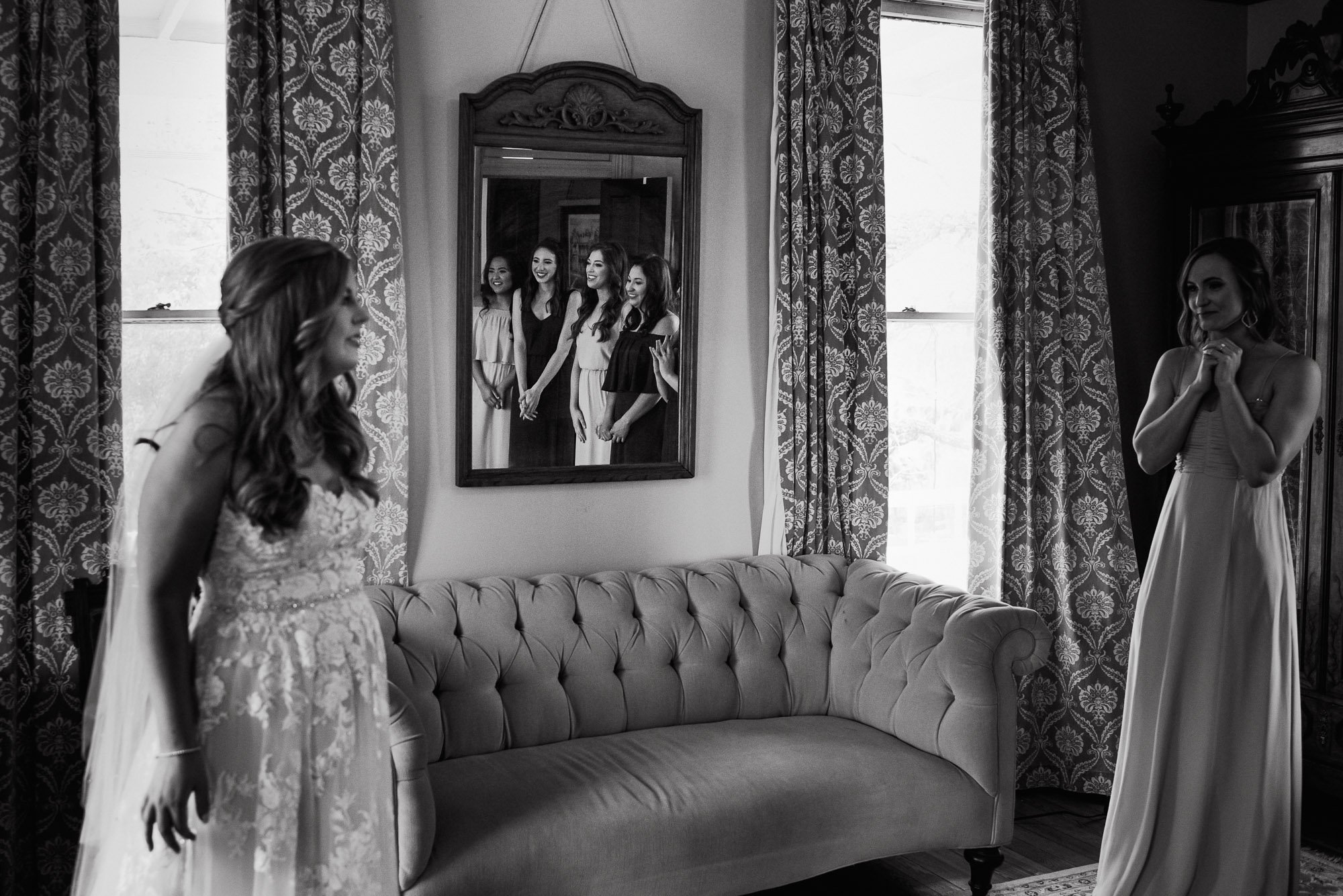 spring wedding at the barr mansion, bridesmaids first look photo examples, dress reveal with bridesmaids