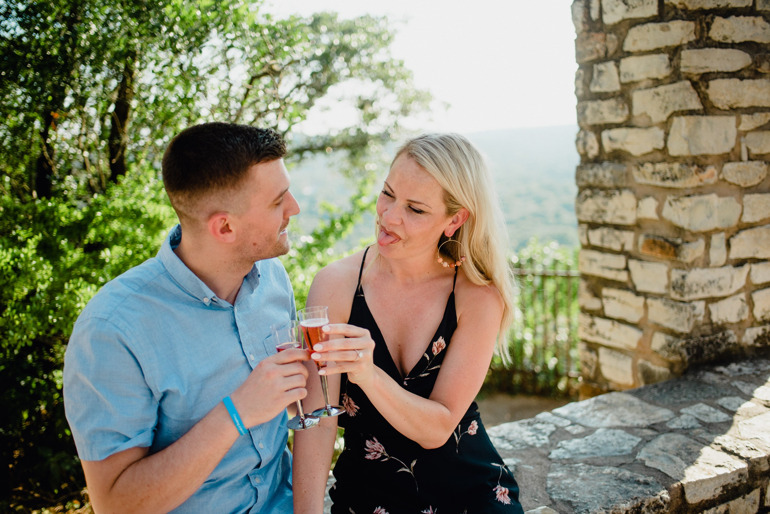 summer engagement photos at mount bonnell