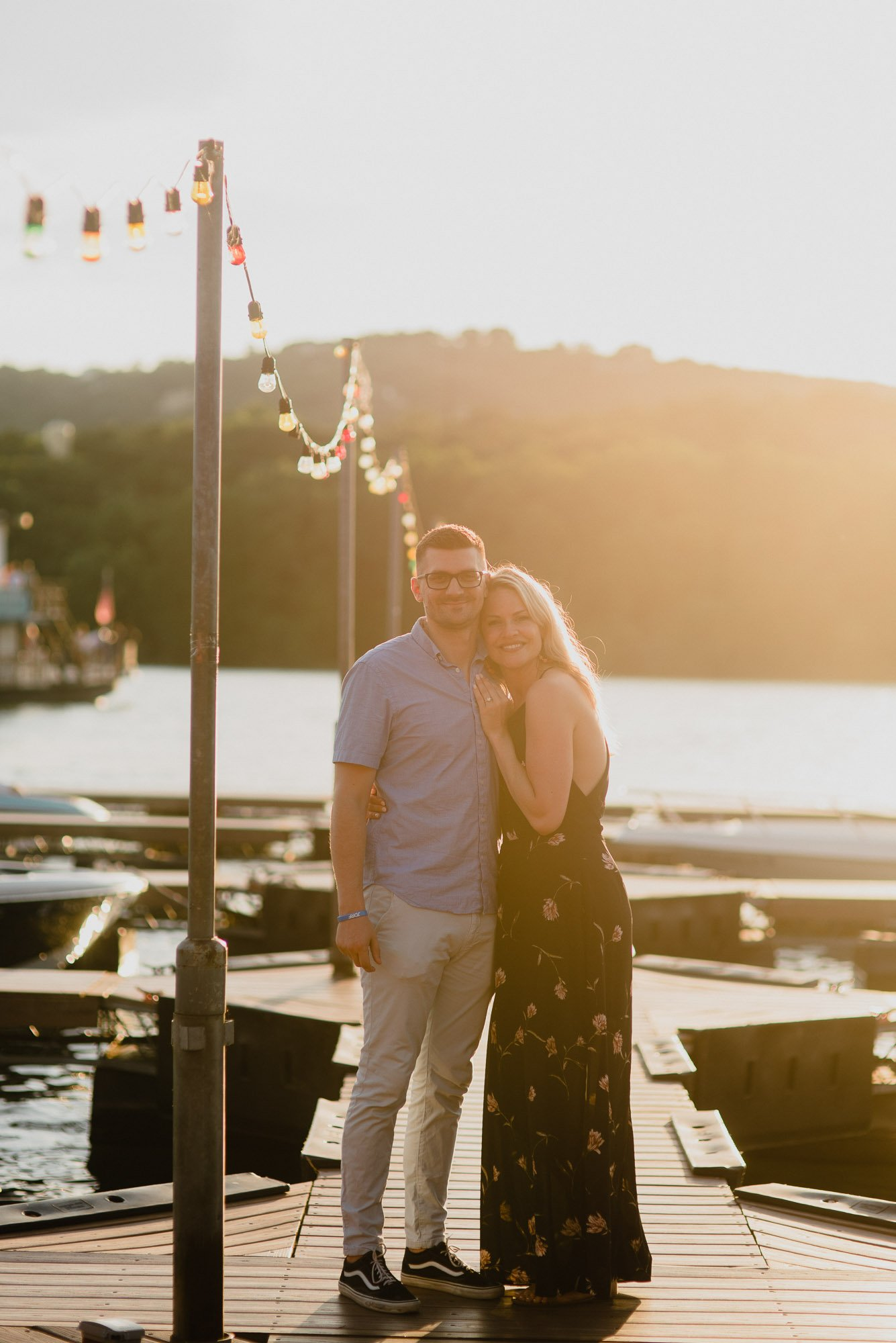 sunset portraits on lake austin, austin proposal photographer, proposal photographer in austin,