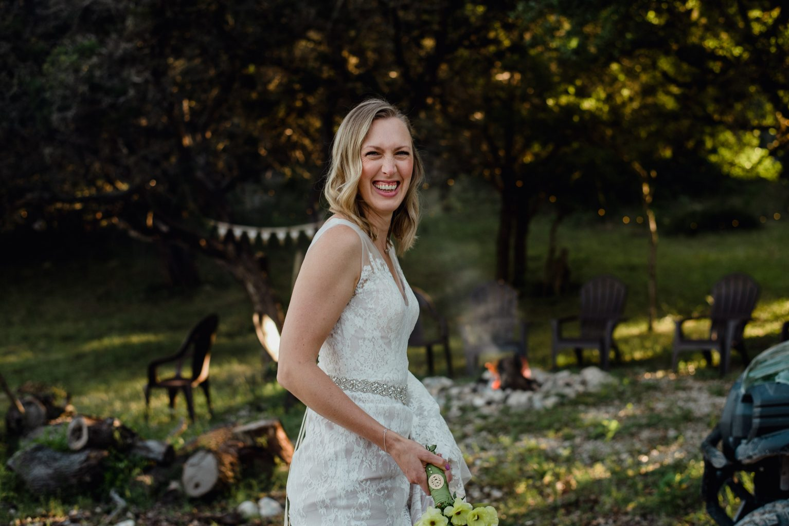 candid photo of a bride at her ranch wedding near San Antonio