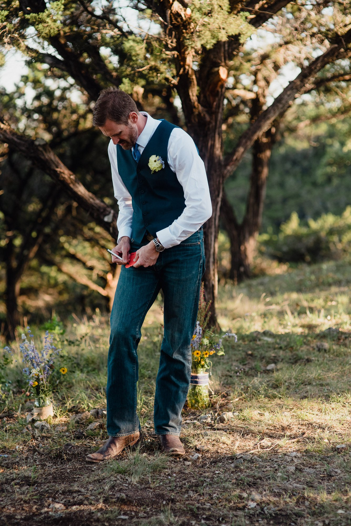 a country groom re-working the vows until the last minute