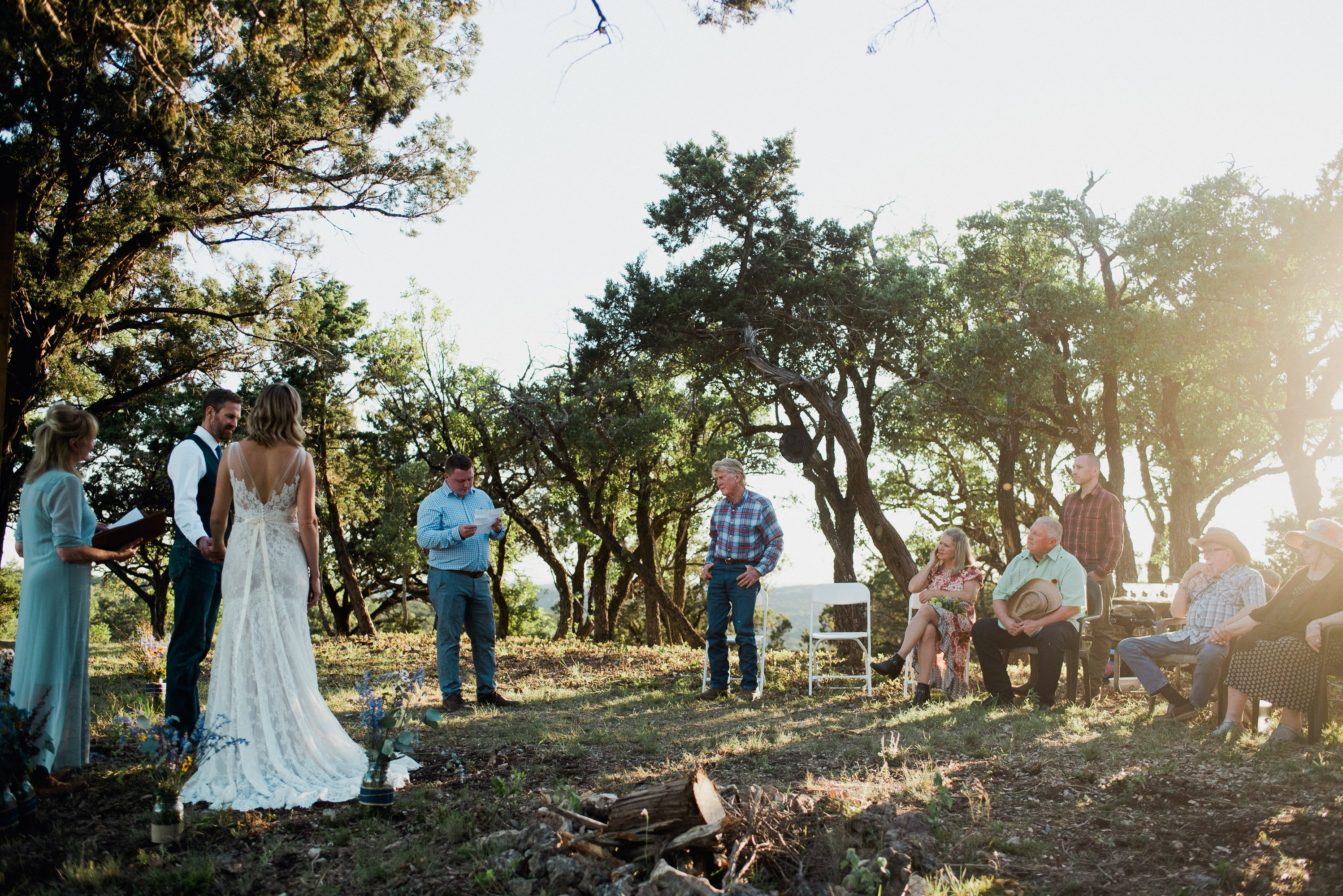 intimate wedding ceremonies with only family at the top of a mountain in San Antonio, TX, san antonio elopement photographers, boerne wedding photos