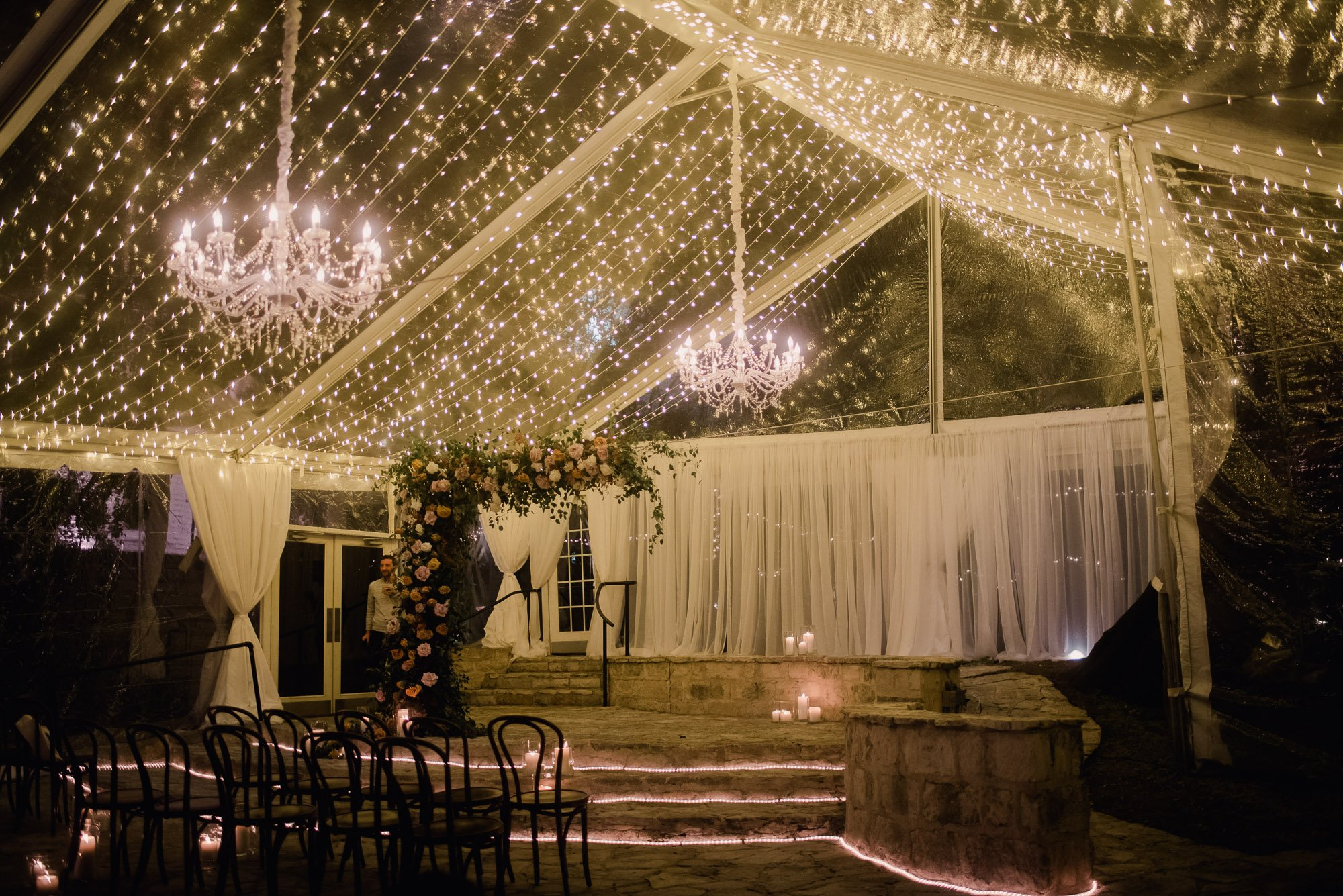 allan house winter wedding on courtyard at night