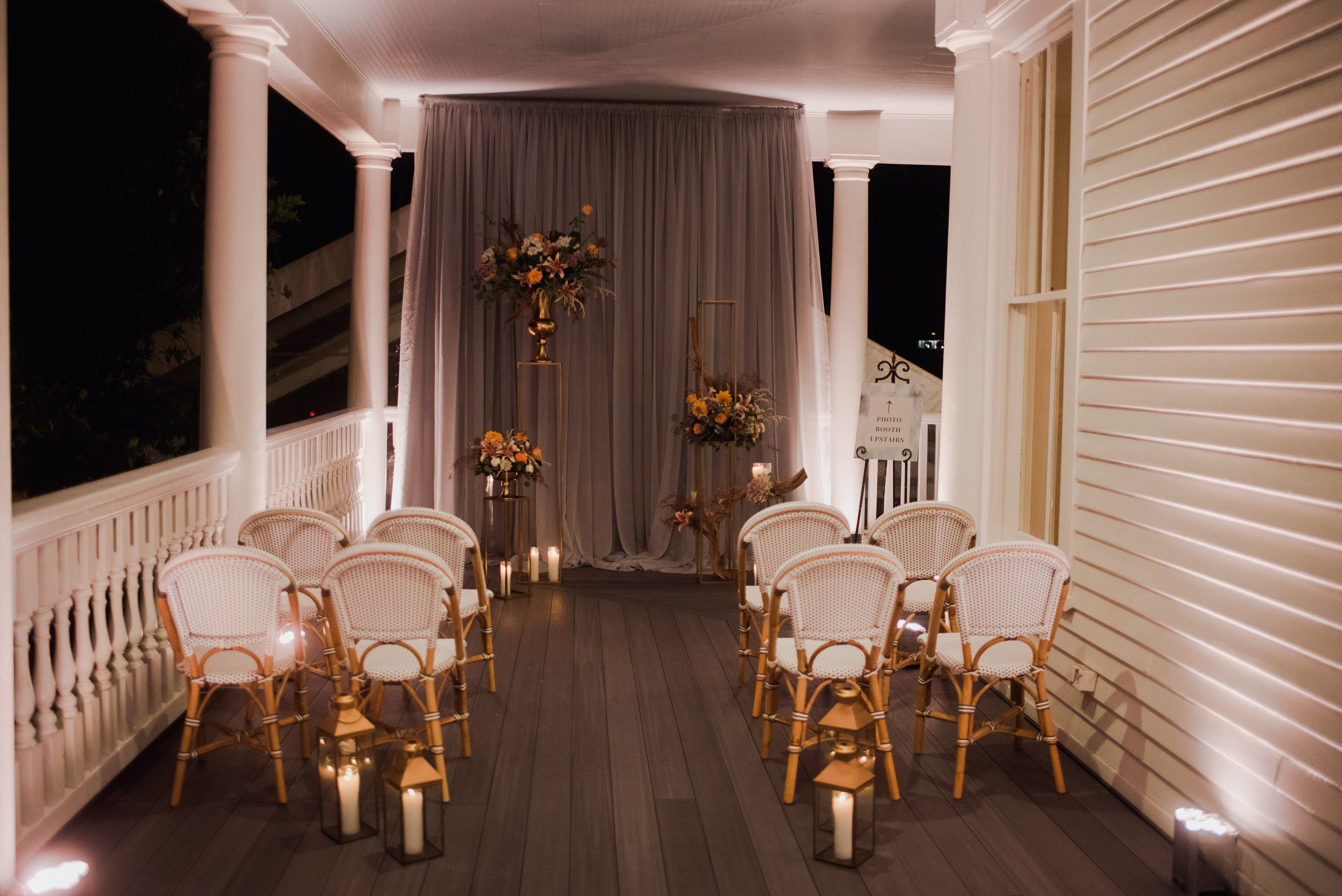 intimate wedding ceremony set up at the Allan House in austin texas
