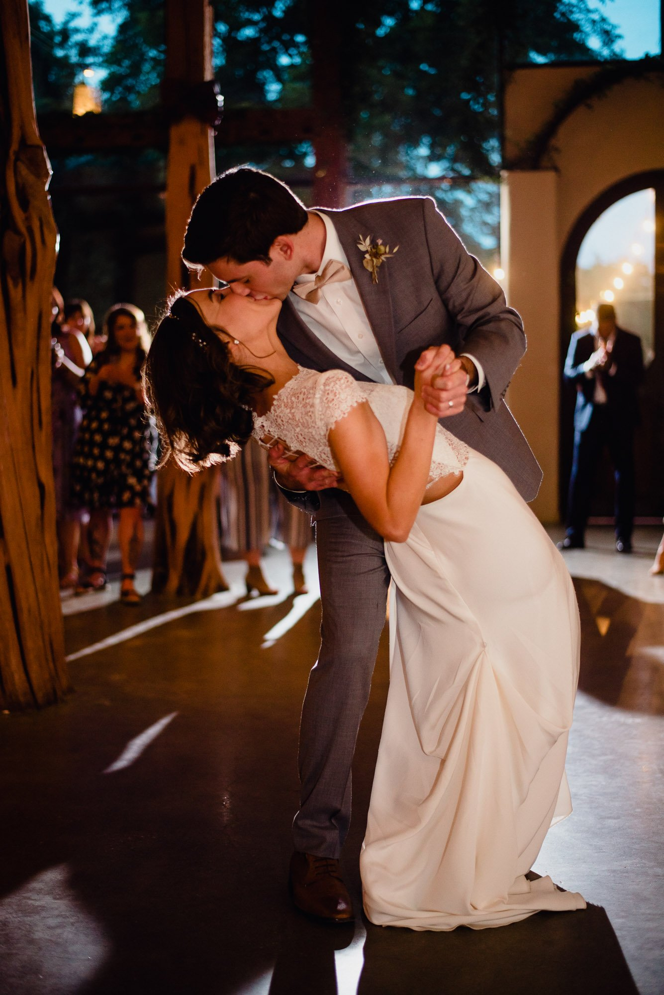after the first dance, comes a first dip kiss. barr mansion wedding photographer