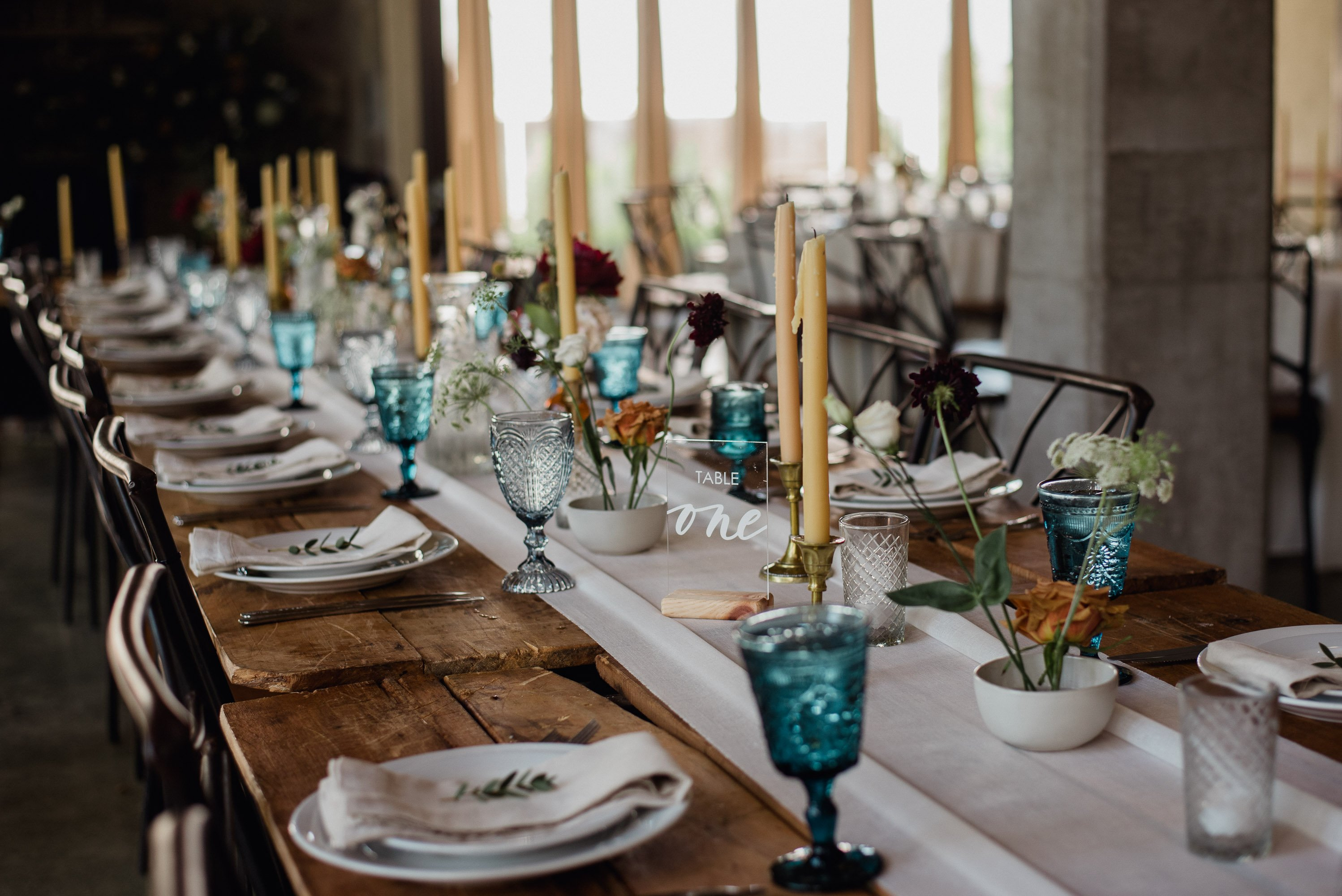 boho table details at the barr mansion