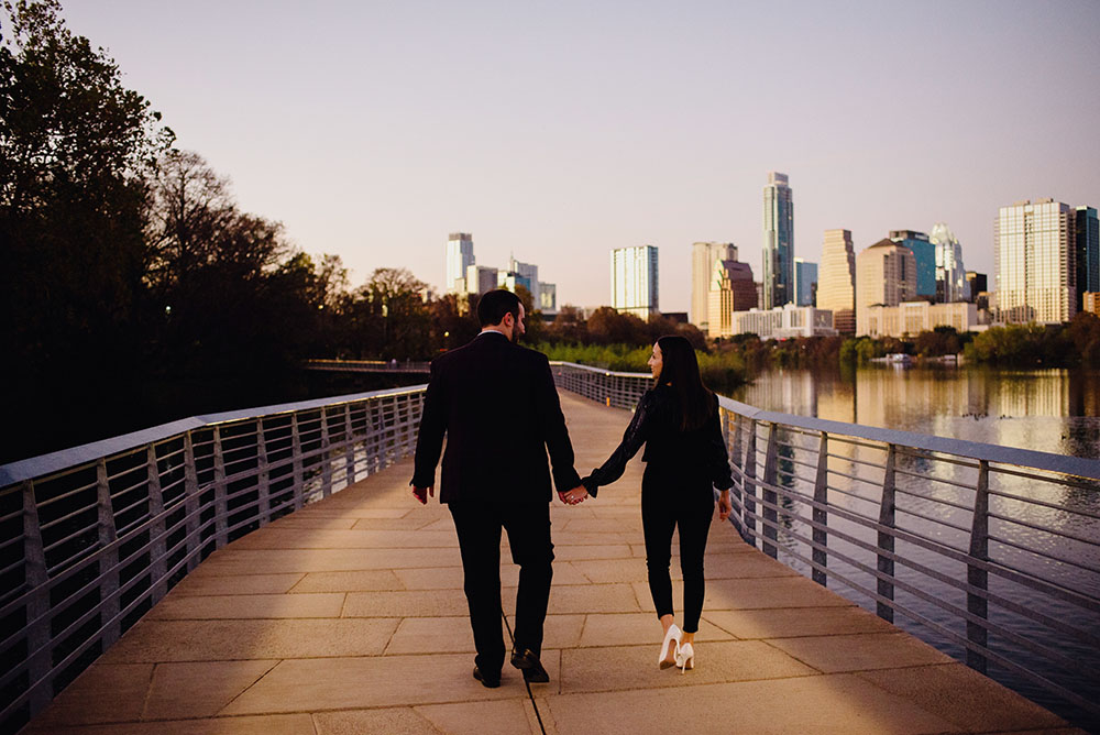 Sunset proposal photos on the lady bird lake boardwalk