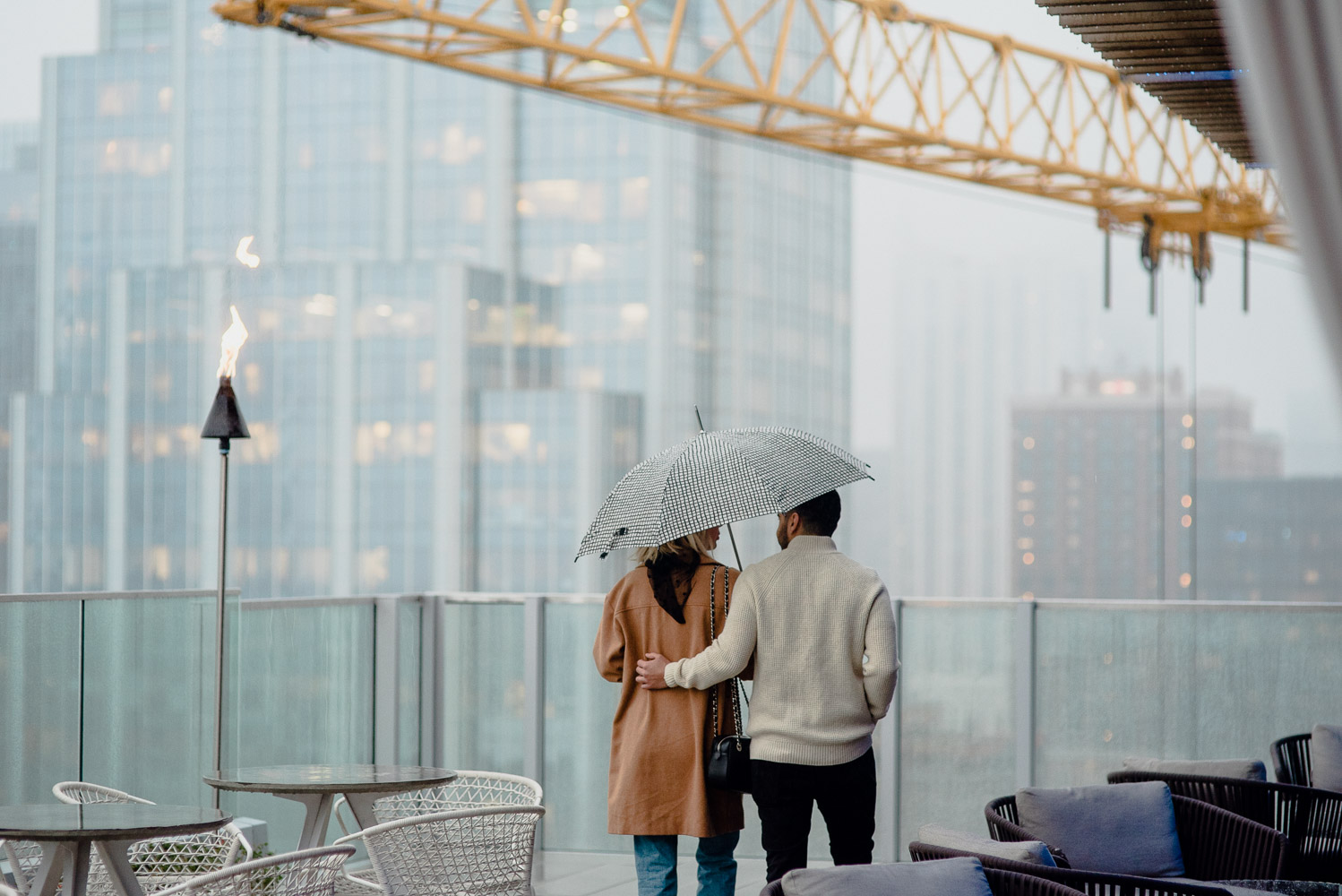 rainy rooftop proposal downtown austin texas