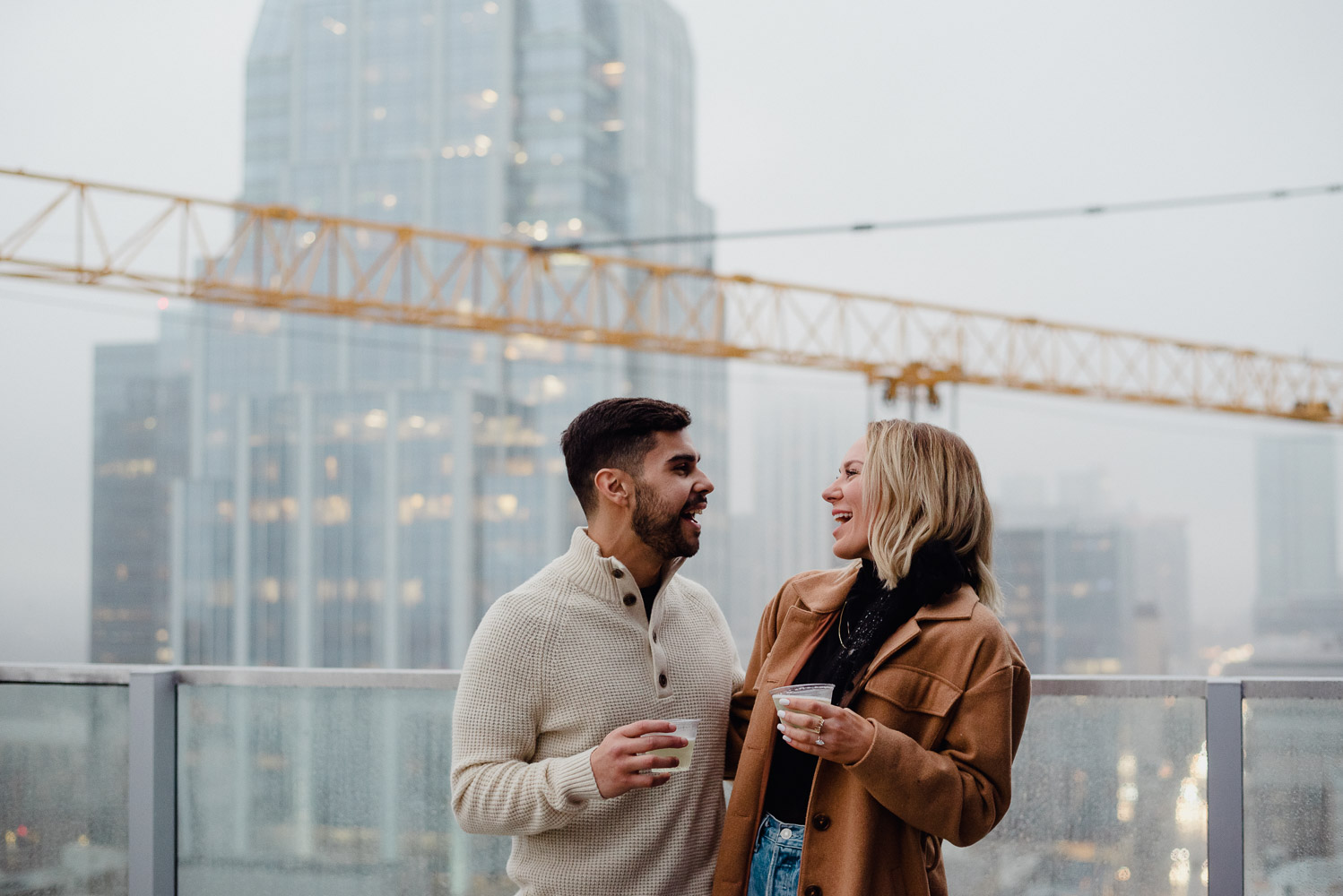 winter proposal at the azul rooftop deck in downtown austin