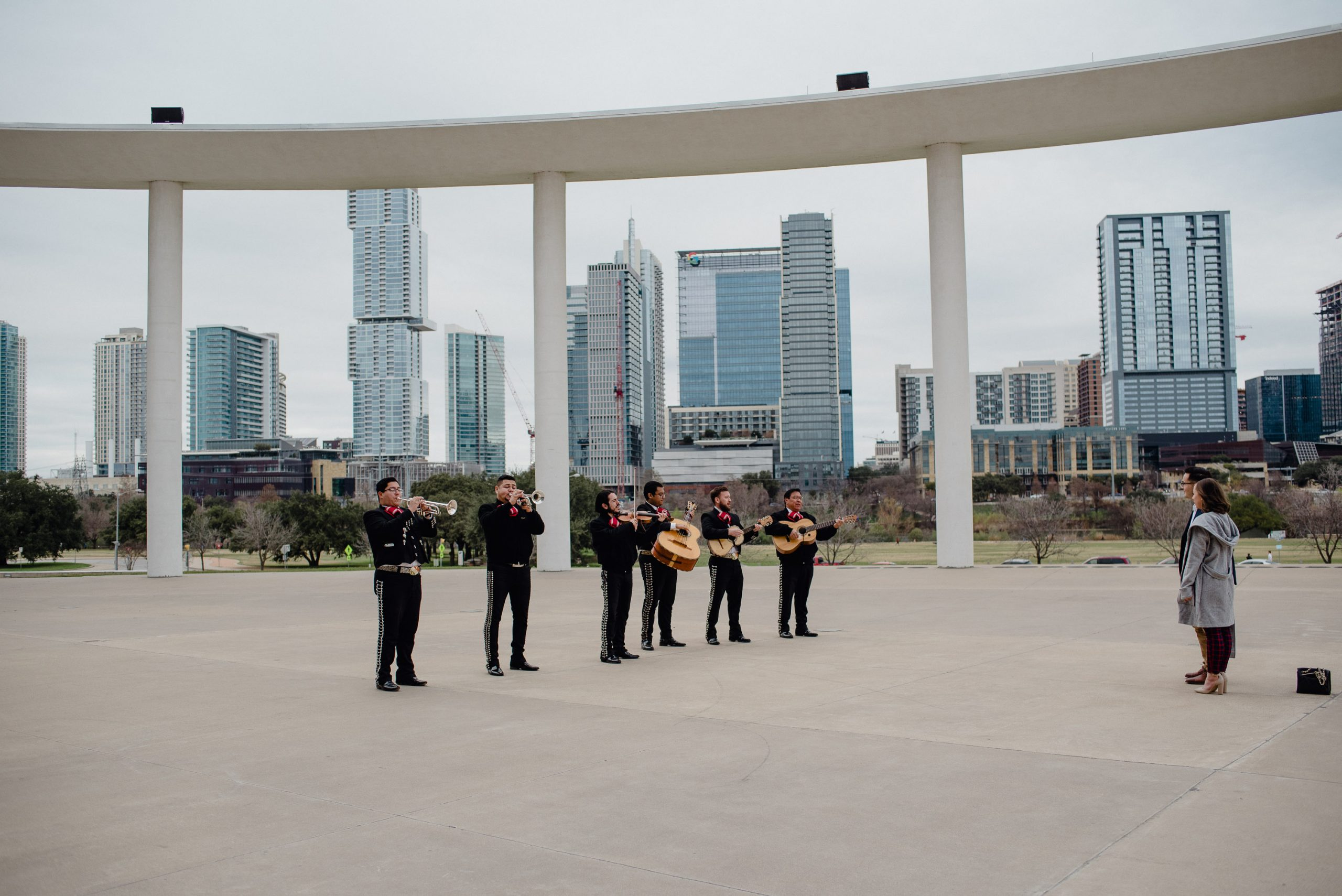 mariachi band performs at a cloudy morning proposal in Austin, Texas