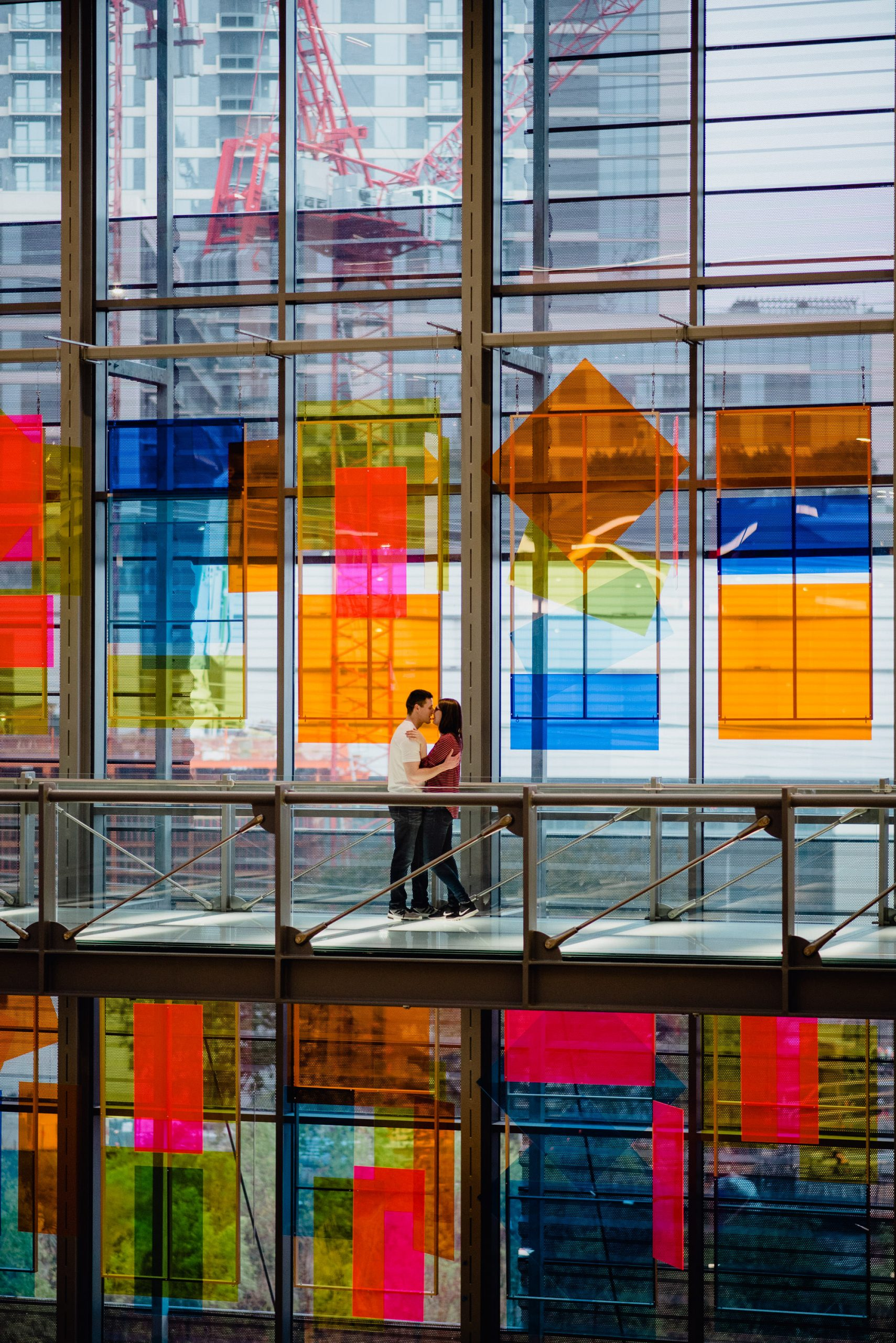 engagement photos at the Central Library Austin