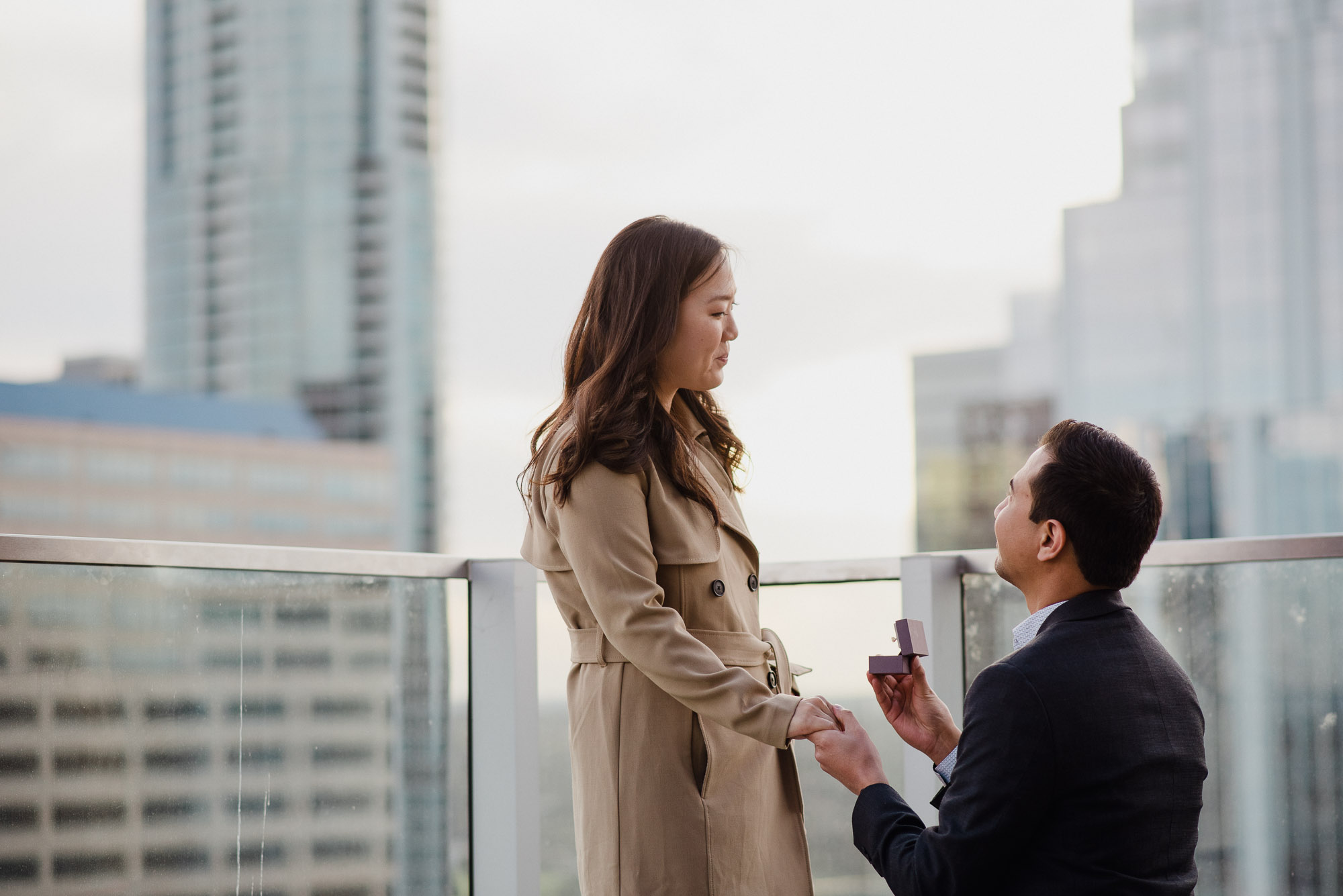 winter proposal ideas in austin texas, downtown proposal photography