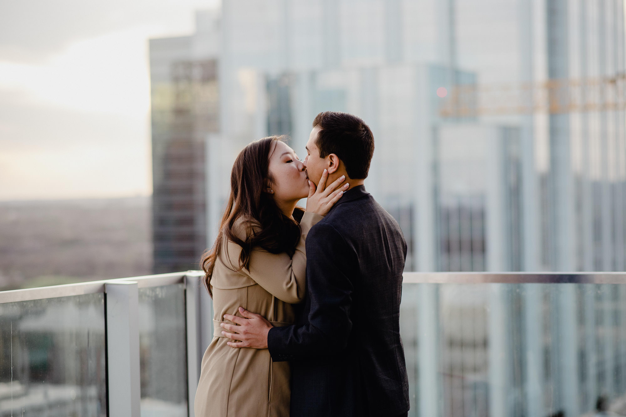 sunset rooftop proposal in austin texas