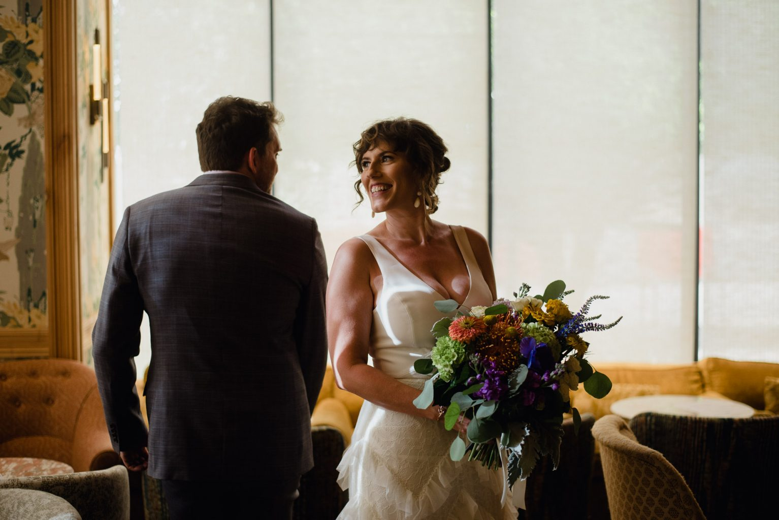 first look reaction between a couple before their elopement in austin texas