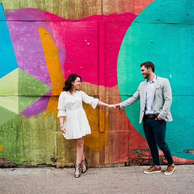 downtown Austin engagement session, colorful engagement photos